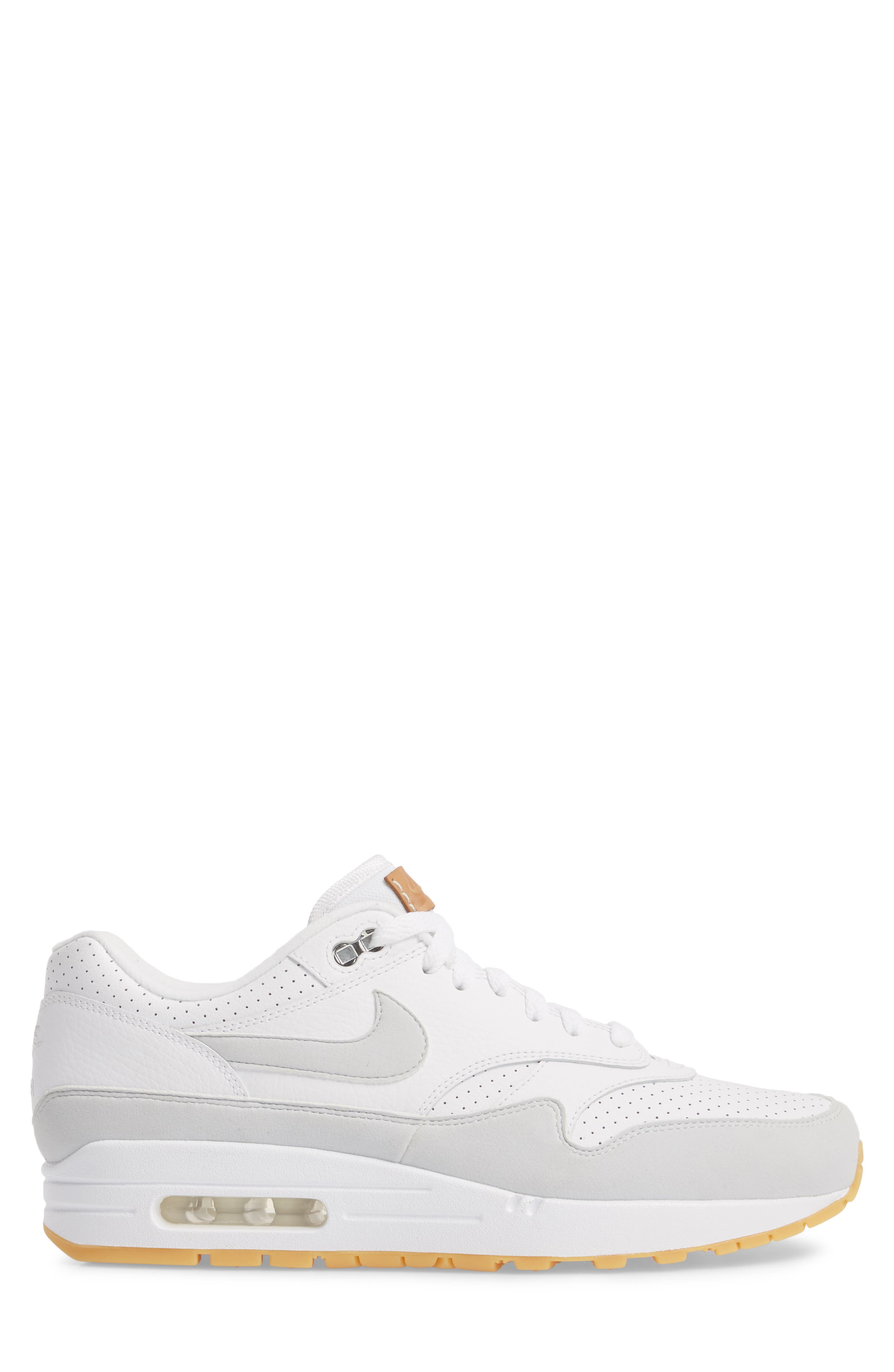 Air Max 1 Sneaker,                             Alternate thumbnail 3, color,                             WHITE/ PURE PLATINUM/ YELLOW