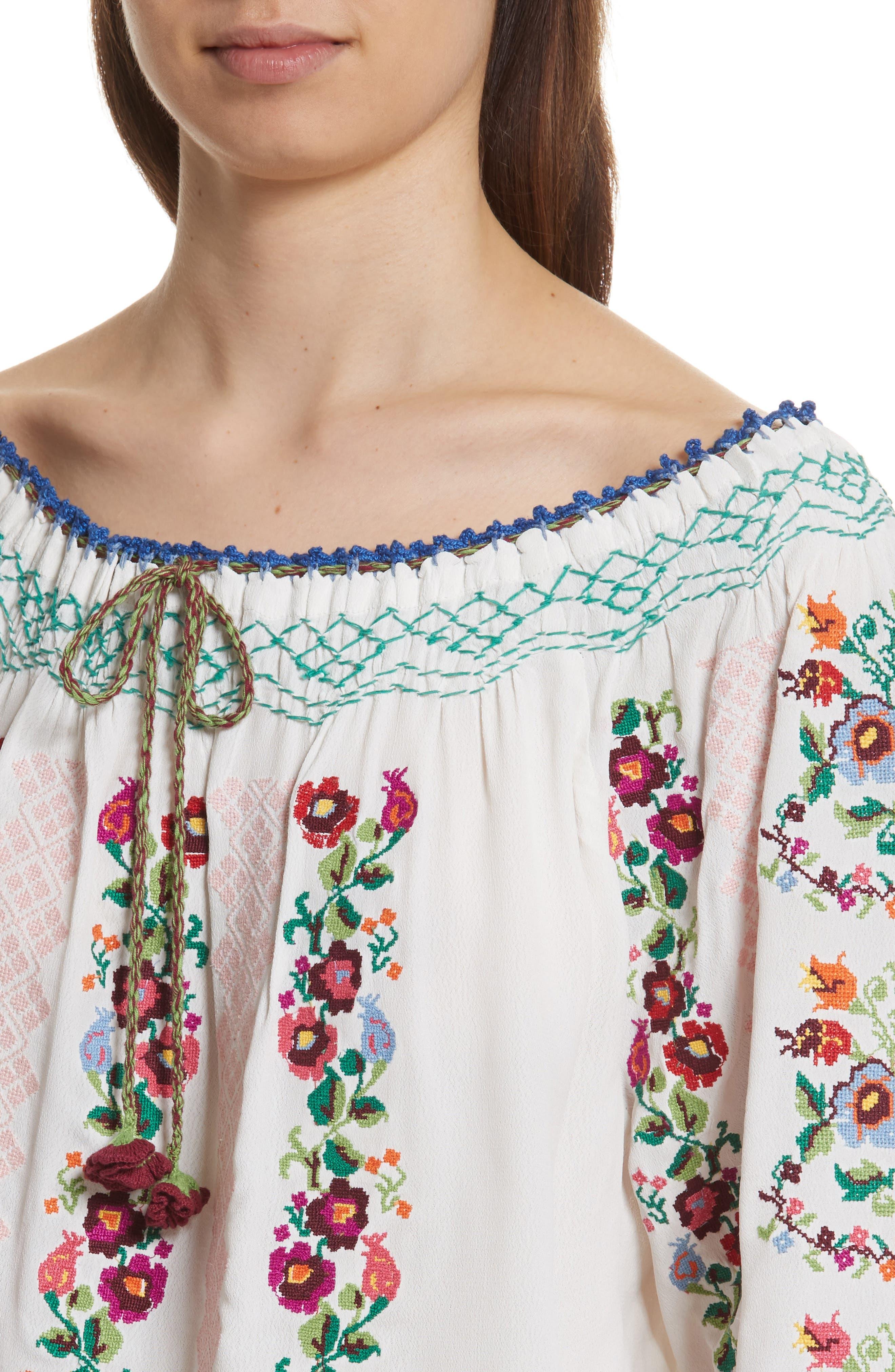Cross Stitch Floral Top,                             Alternate thumbnail 4, color,
