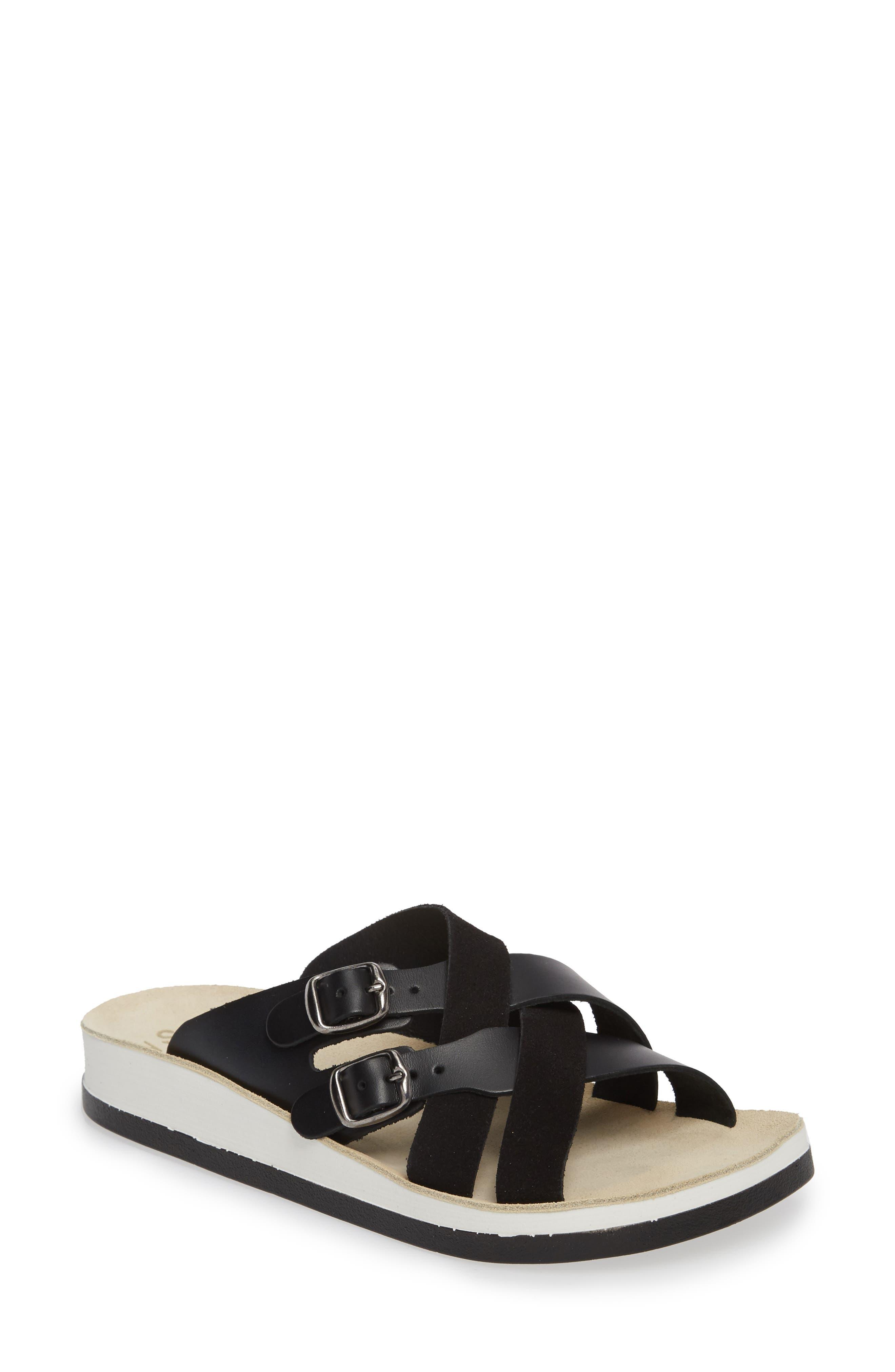 Silvia Slide Sandal,                         Main,                         color, BLACK LEATHER