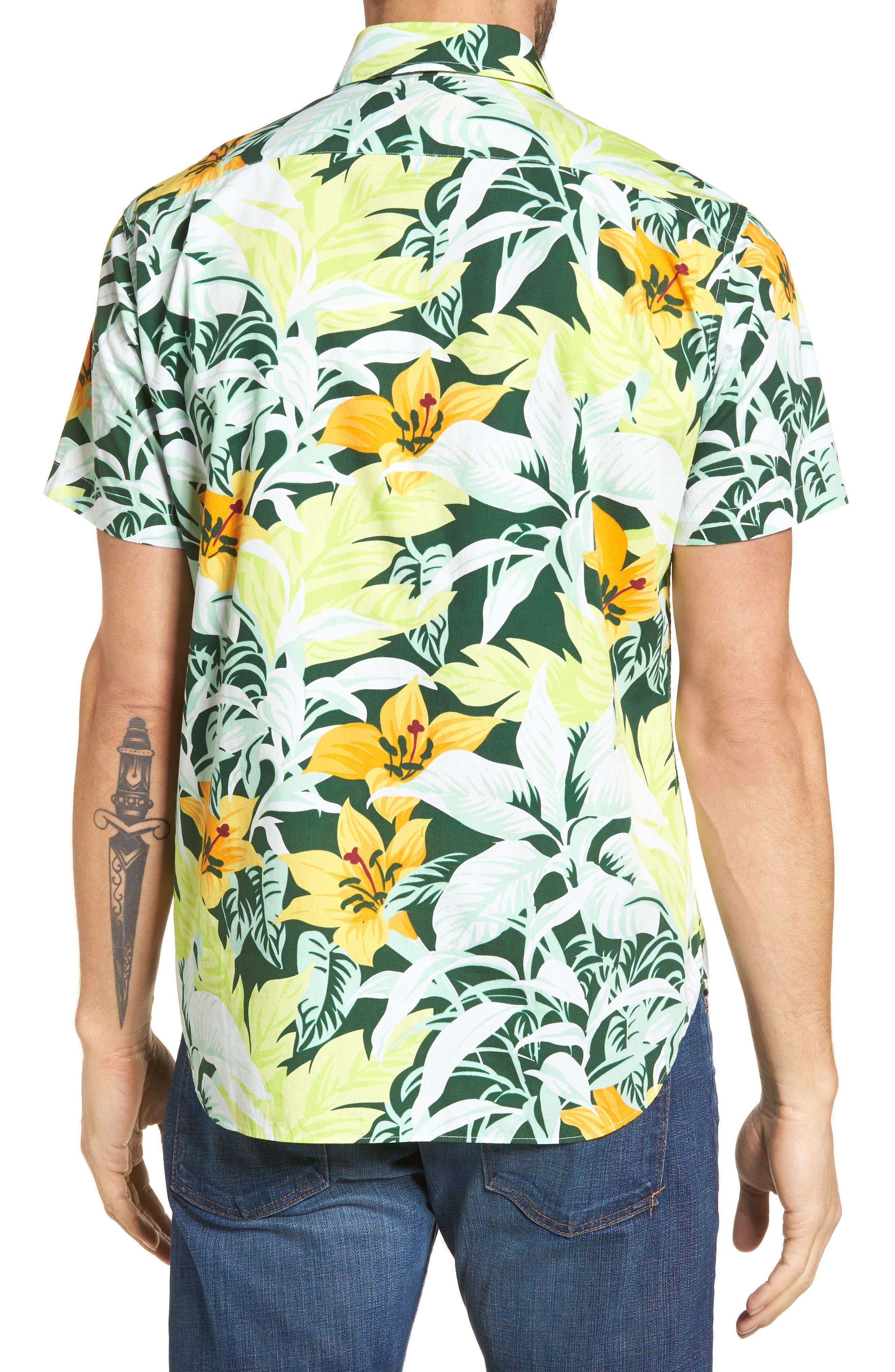 Slim Fit Tropical Sport Shirt,                             Alternate thumbnail 2, color,                             100