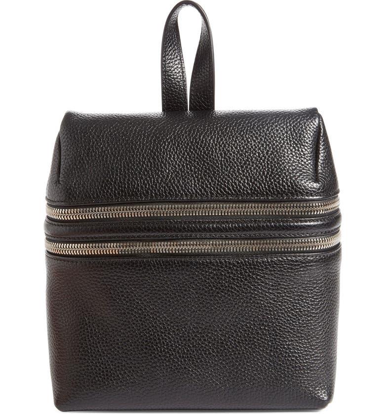 2265455a9374 Kara Double Zipper Pebbled Leather Backpack