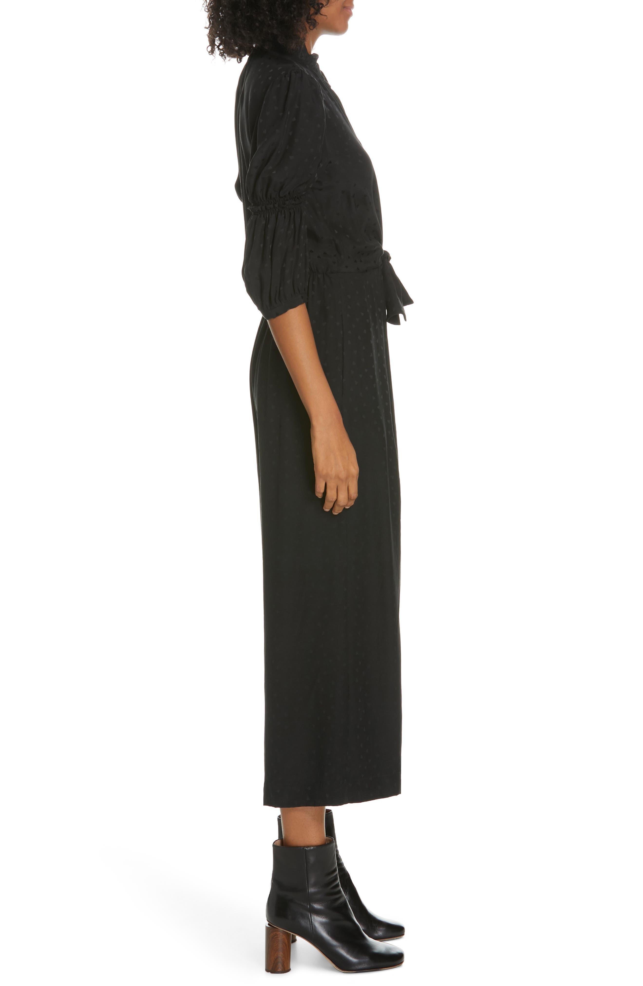 REBECCA TAYLOR,                             Silk Jacquard Jumpsuit,                             Alternate thumbnail 3, color,                             BLACK
