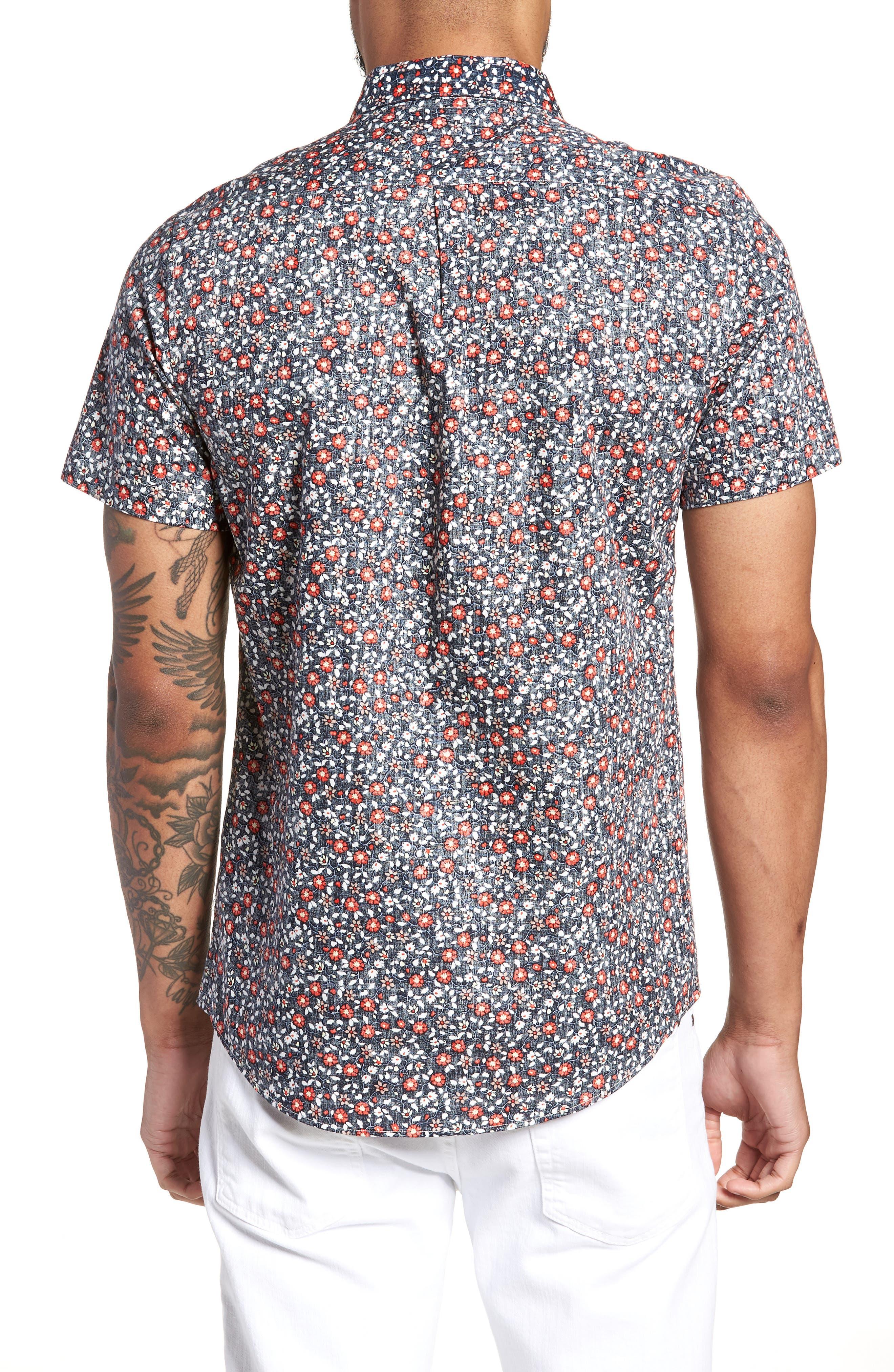 Trim Fit Print Woven Short Sleeve Shirt,                             Alternate thumbnail 2, color,                             400