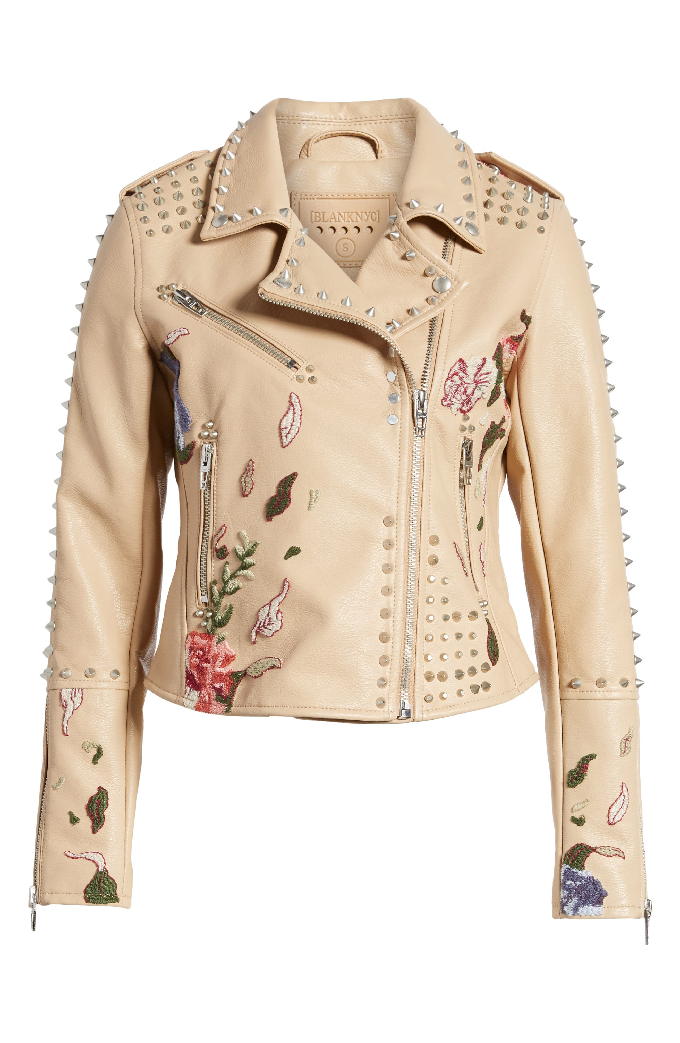 Embellished Faux Leather Moto Jacket,                             Alternate thumbnail 5, color,                             250