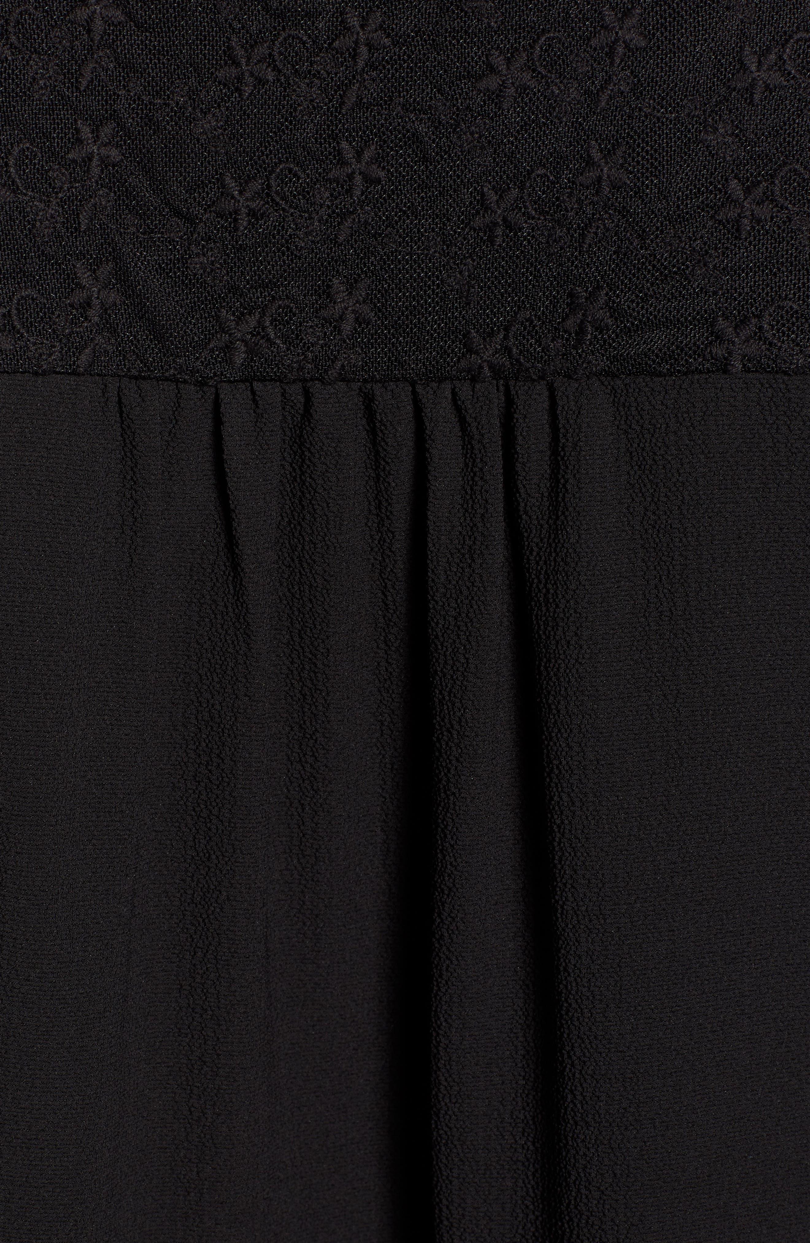 GIBSON,                             x International Women's Day Lindsey Lace Yoke Split Neck Crepe Blouse,                             Alternate thumbnail 5, color,                             BLACK WITH BLACK