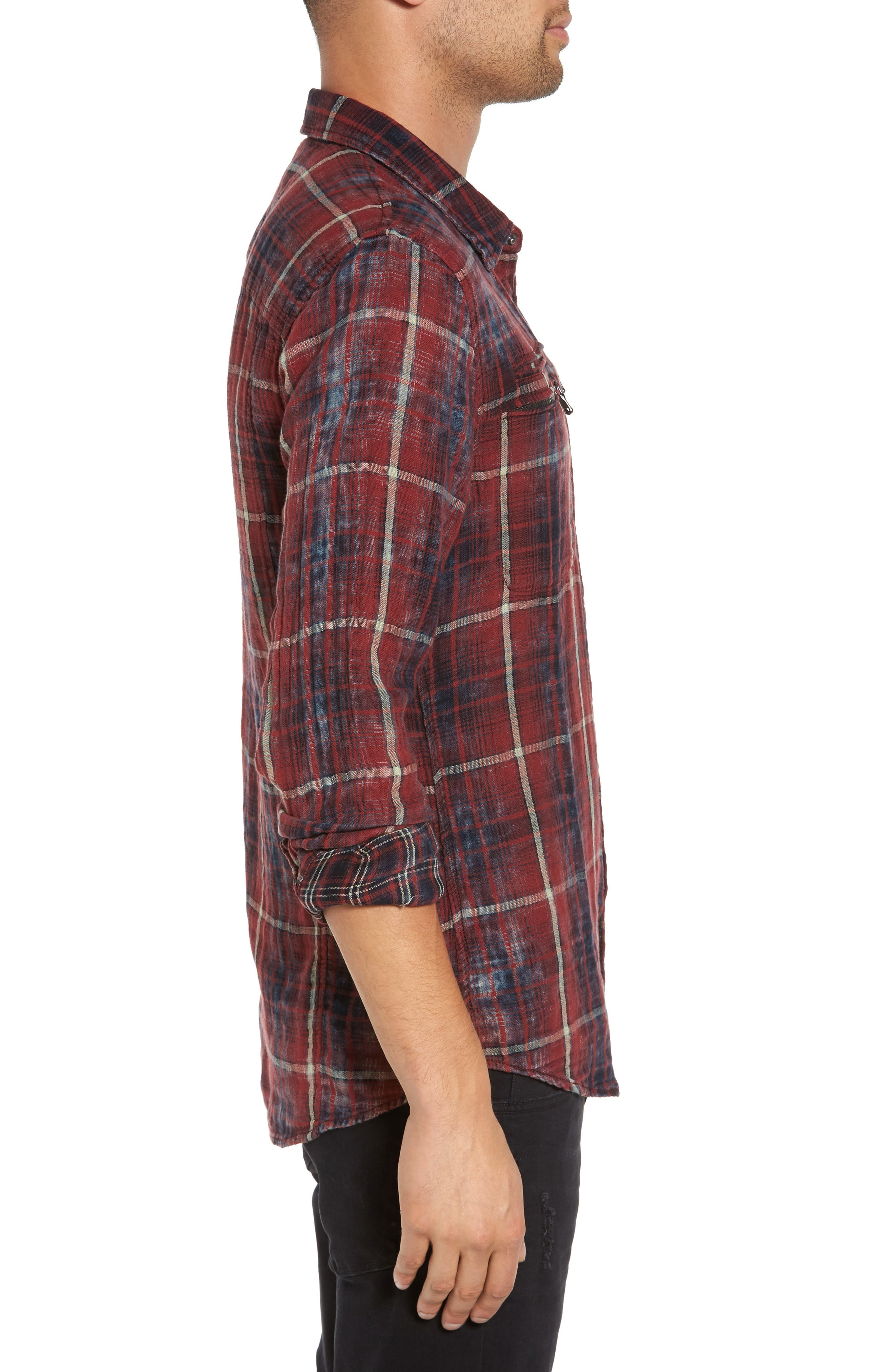 Distressed Plaid Sport Shirt,                             Alternate thumbnail 3, color,