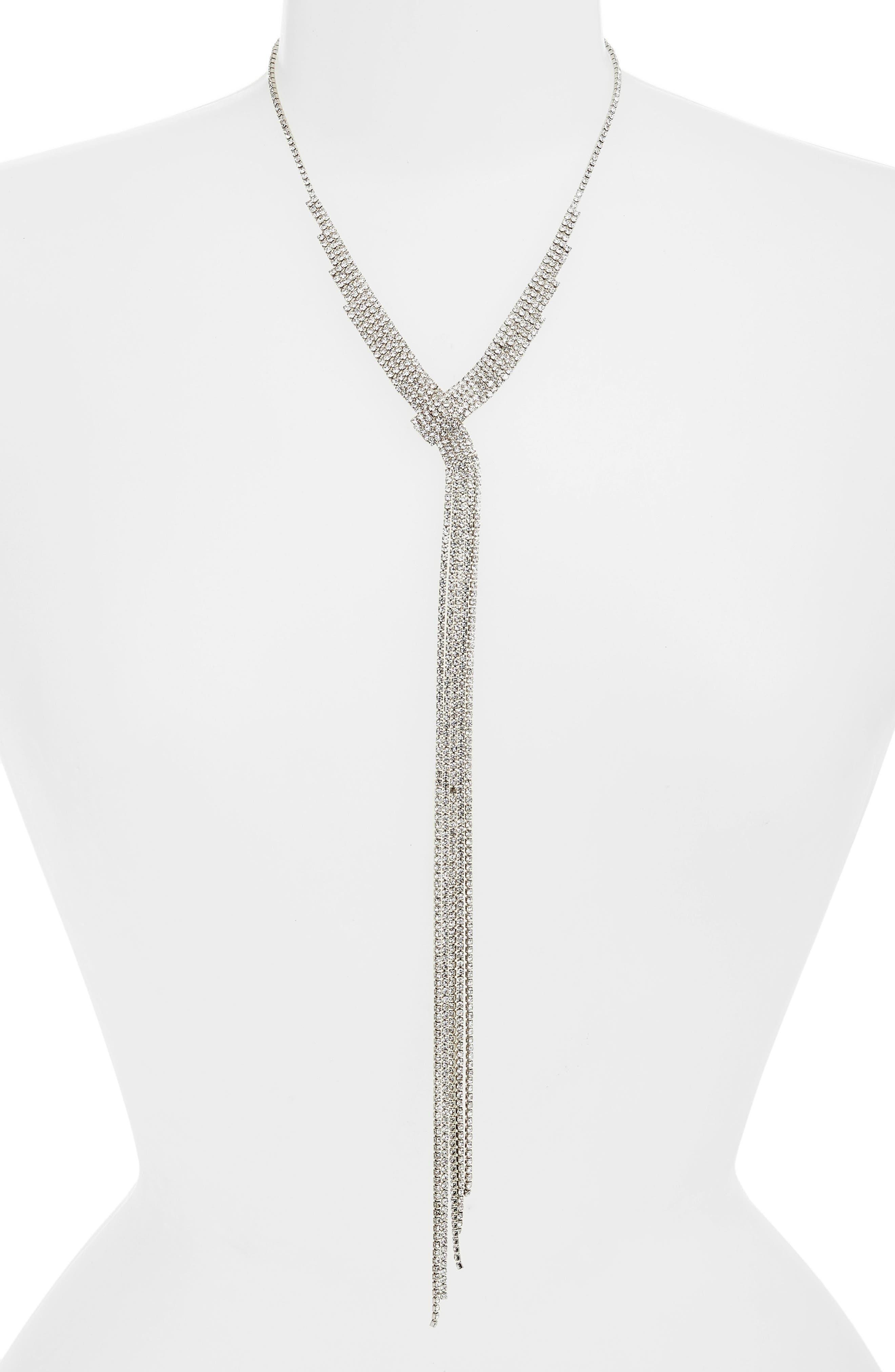 AREA STARS Irene Crystal Fringe Y-Necklace in Black