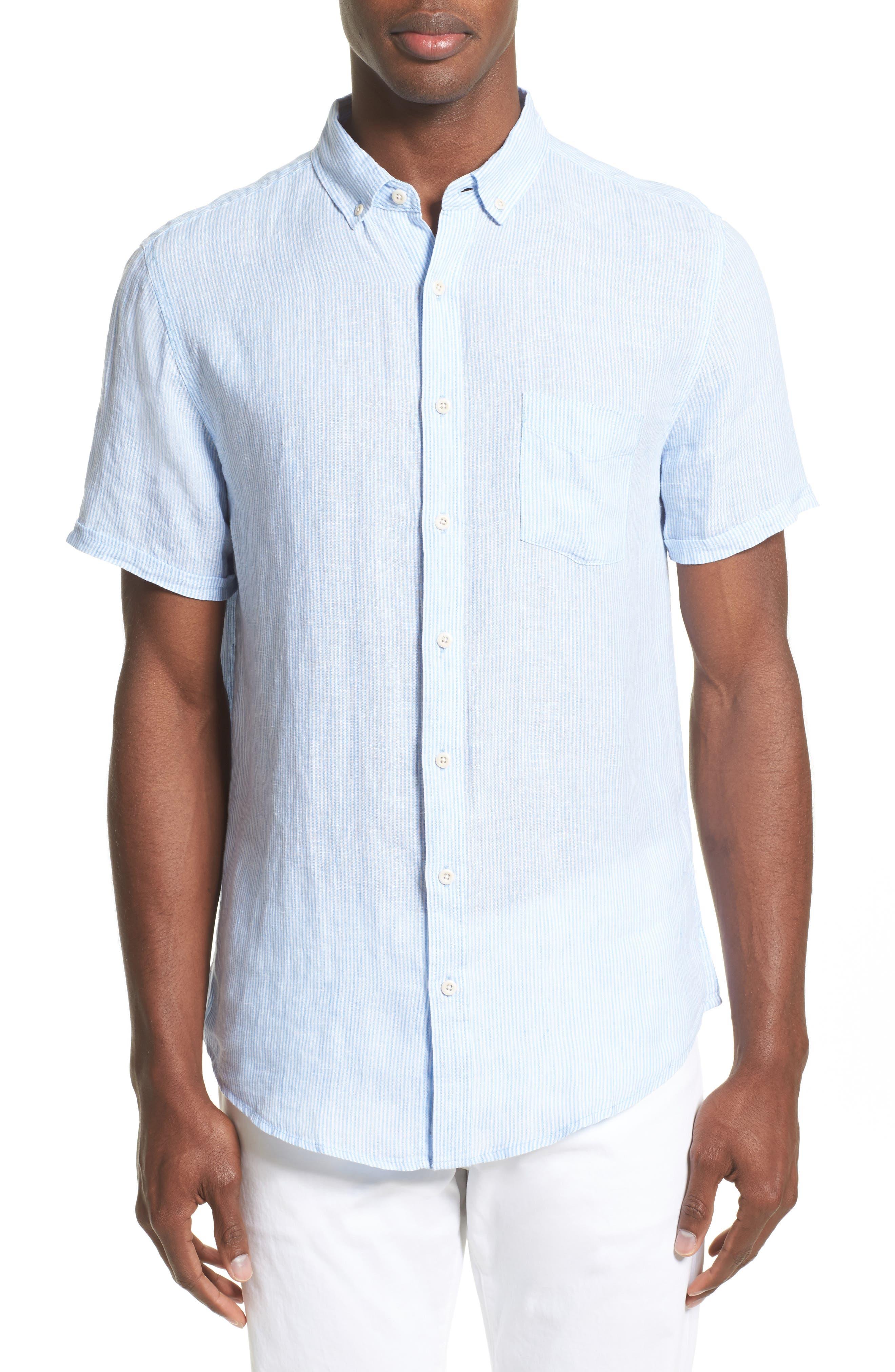 Trim Fit Microstripe Linen Shirt,                             Main thumbnail 2, color,