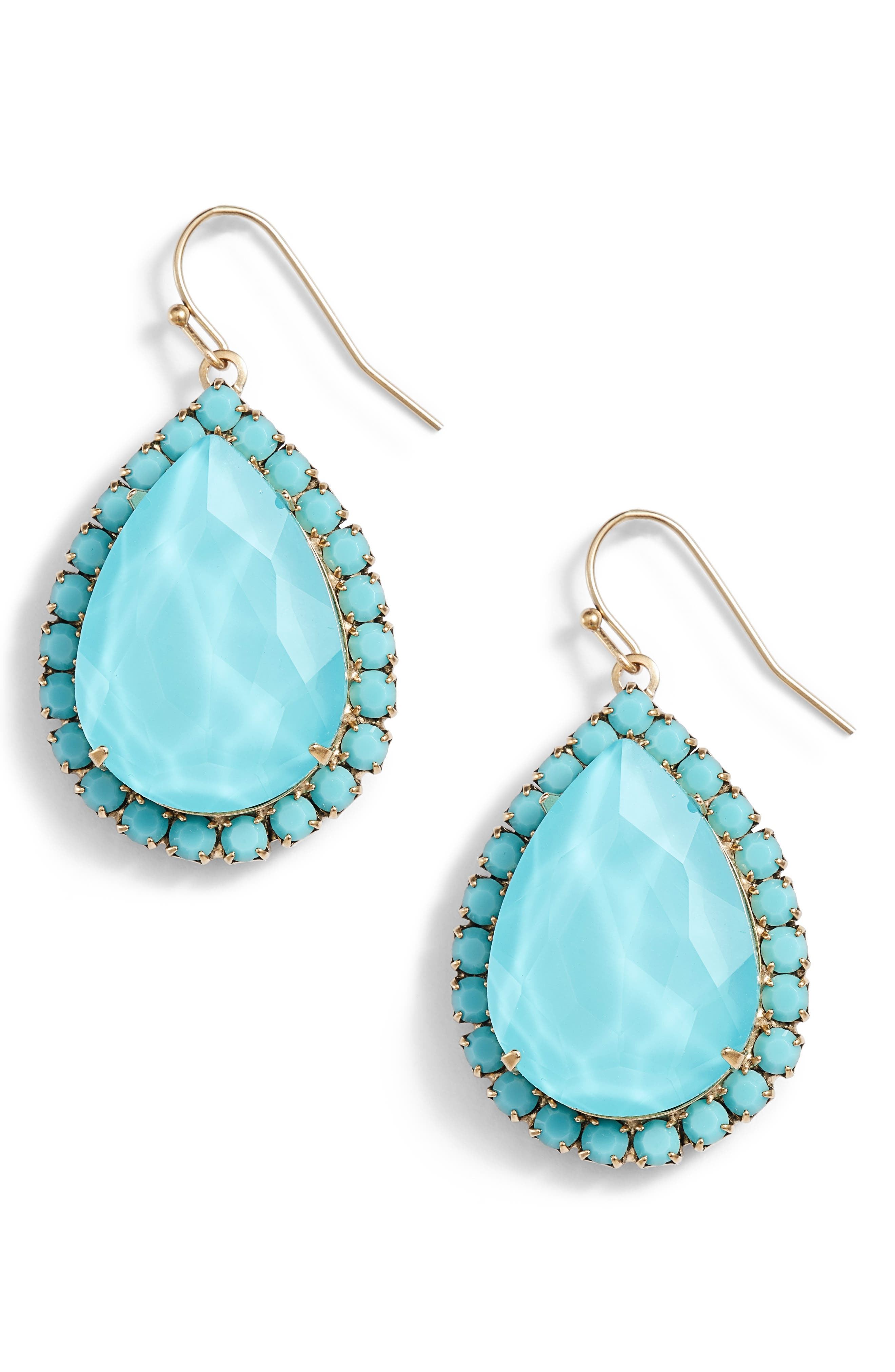 Krista Crystal Drop Earrings,                             Main thumbnail 1, color,                             TURQUOISE