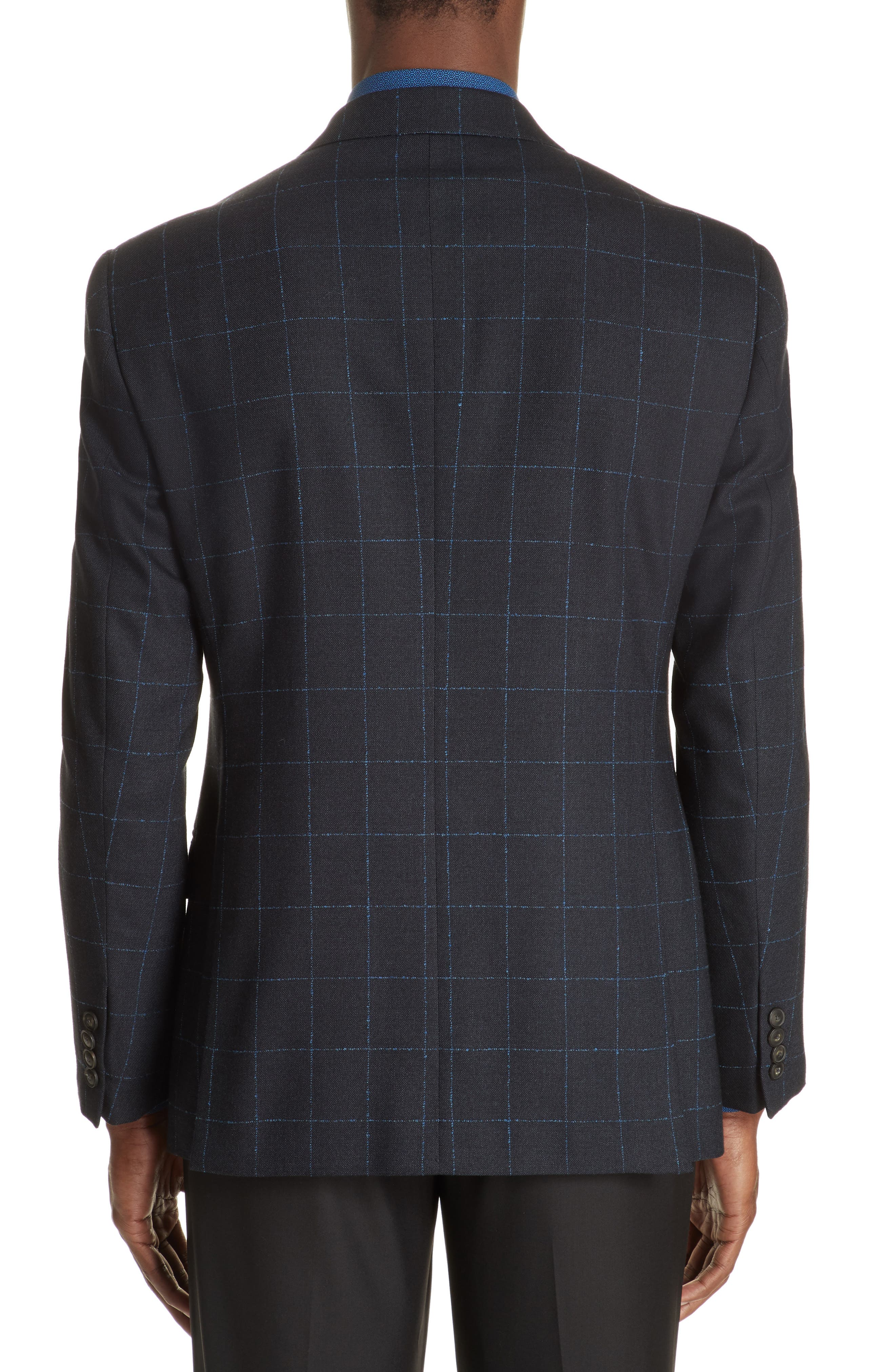 G-Line Trim Fit Stretch Windowpane Sport Coat,                             Alternate thumbnail 2, color,                             NAVY