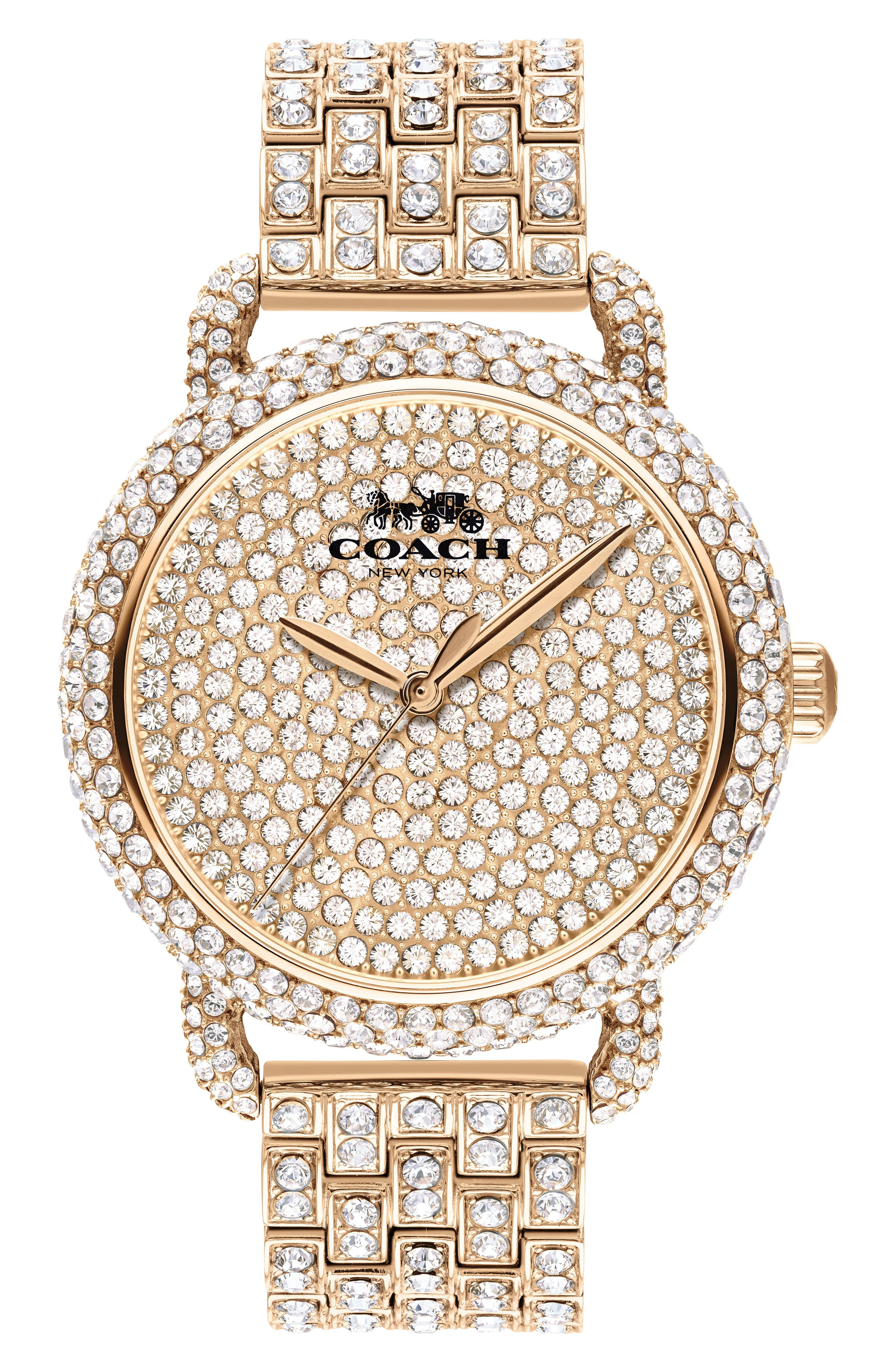 'Delancey' Crystal Bracelet Watch, 36mm,                             Main thumbnail 1, color,                             ROSE GOLD