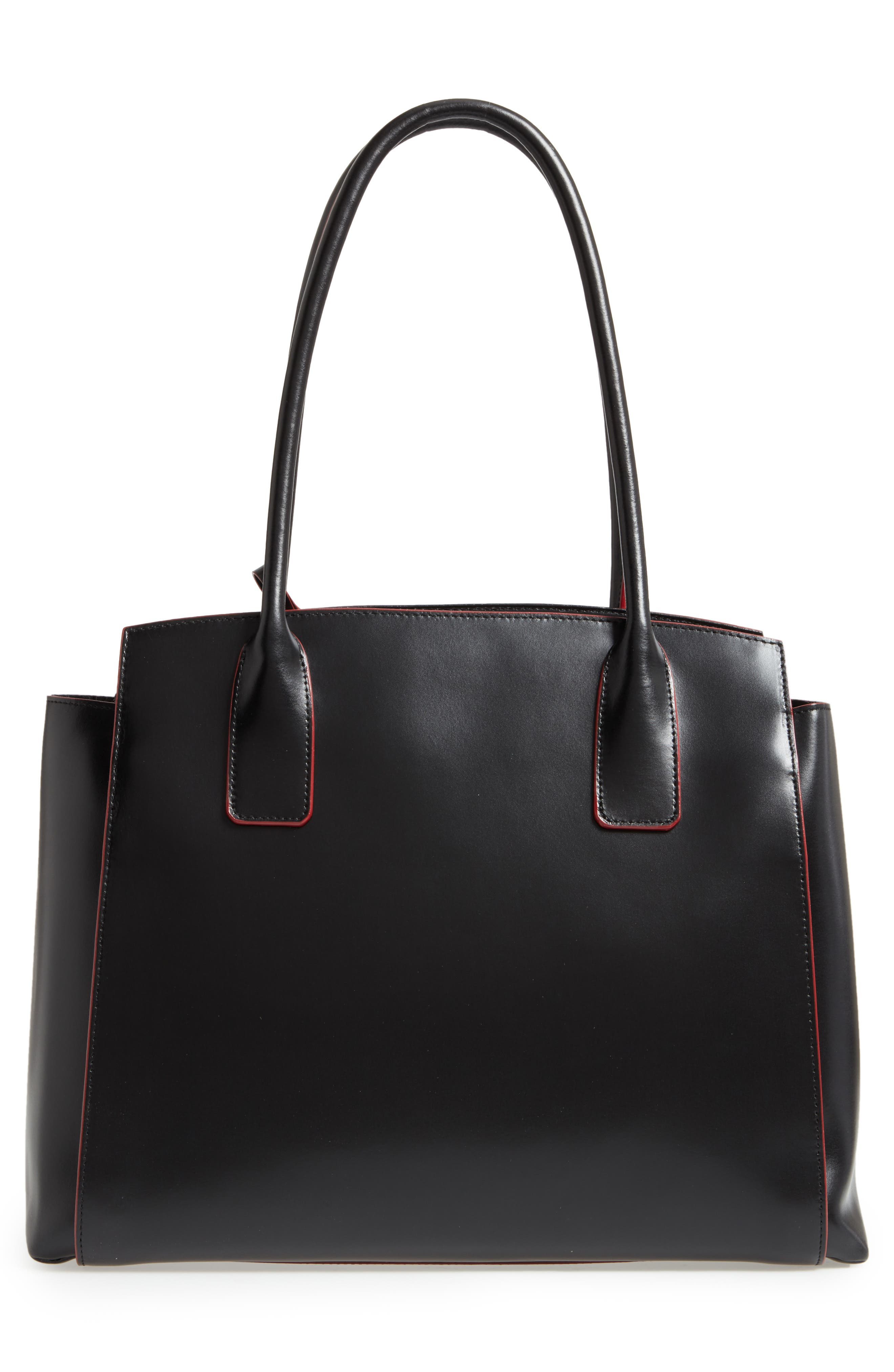 Audrey Under Lock & Key - Zola RFID Leather Tote,                             Alternate thumbnail 3, color,                             BLACK