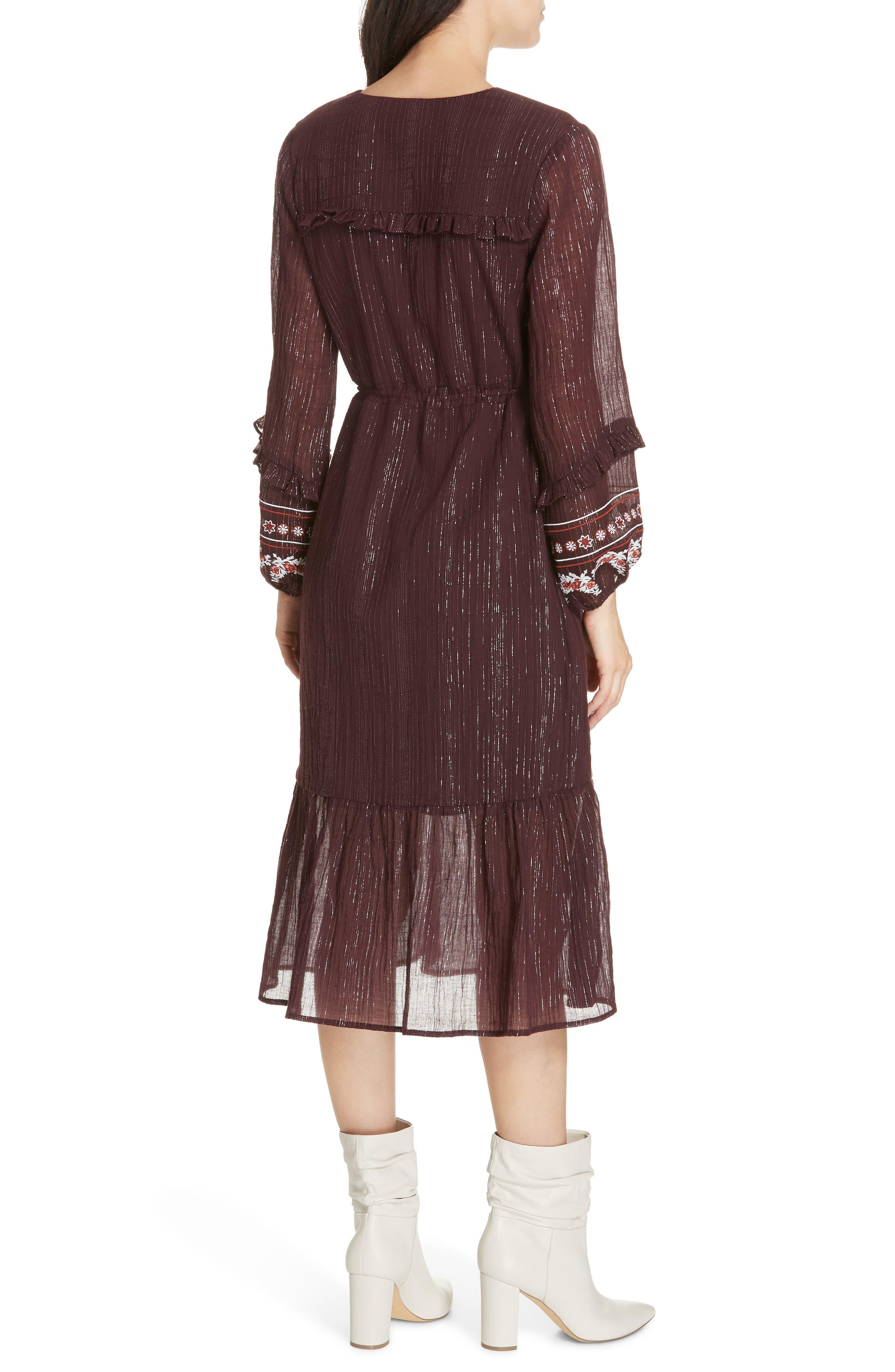 Rashida Embroidered Midi Dress,                             Alternate thumbnail 2, color,                             MULBERRY