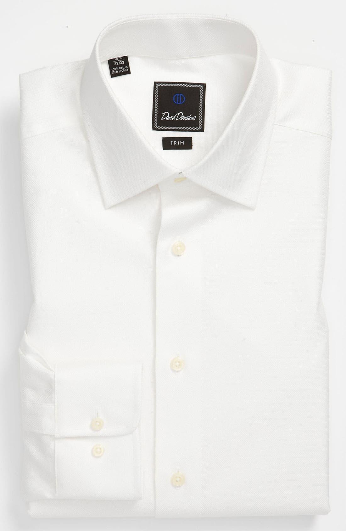 Trim Fit Dress Shirt,                             Main thumbnail 1, color,                             WHITE