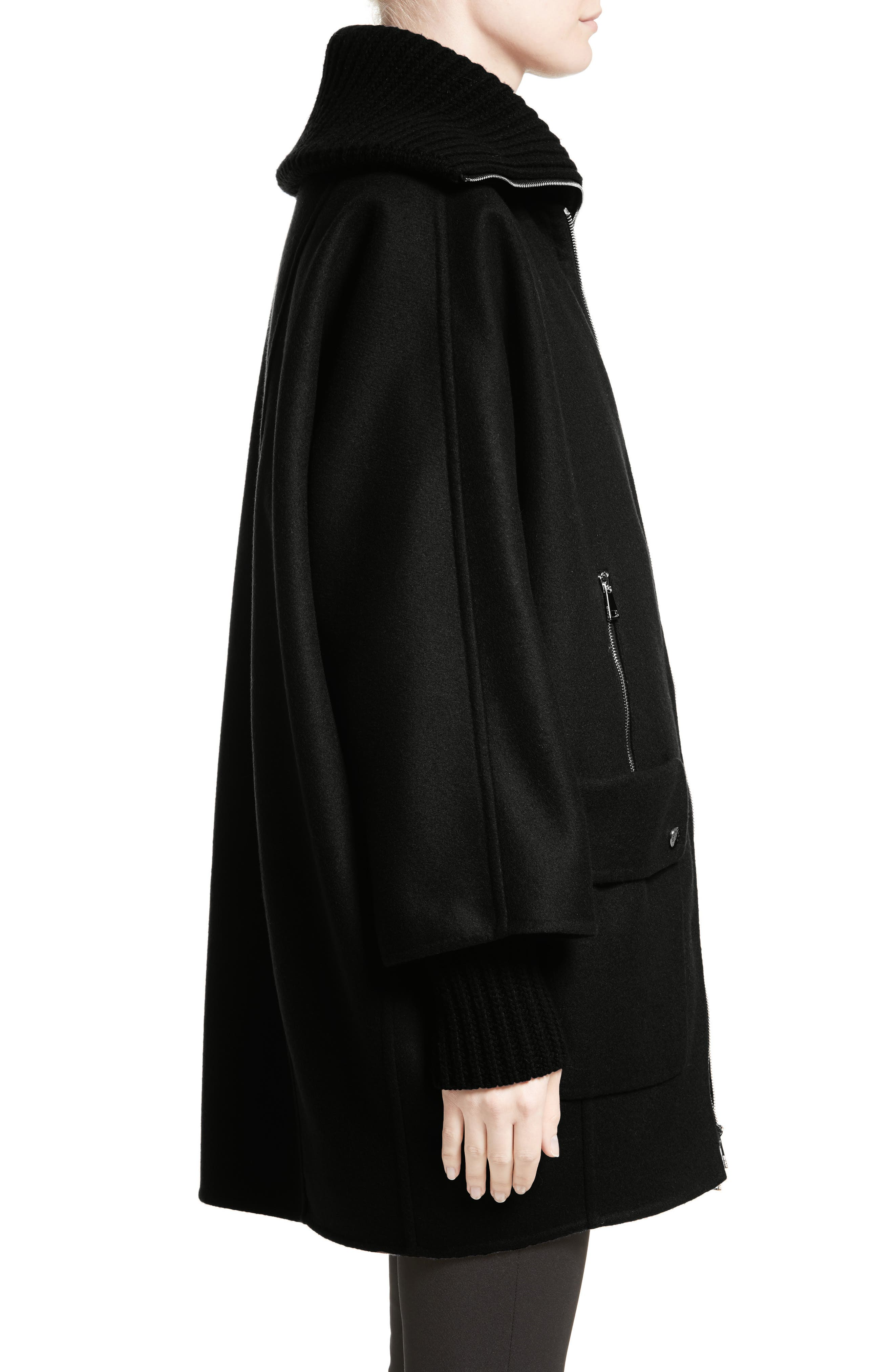 Acanthus Wool & Cashmere Coat with Removable Down Puffer Layer,                             Alternate thumbnail 3, color,                             BLACK