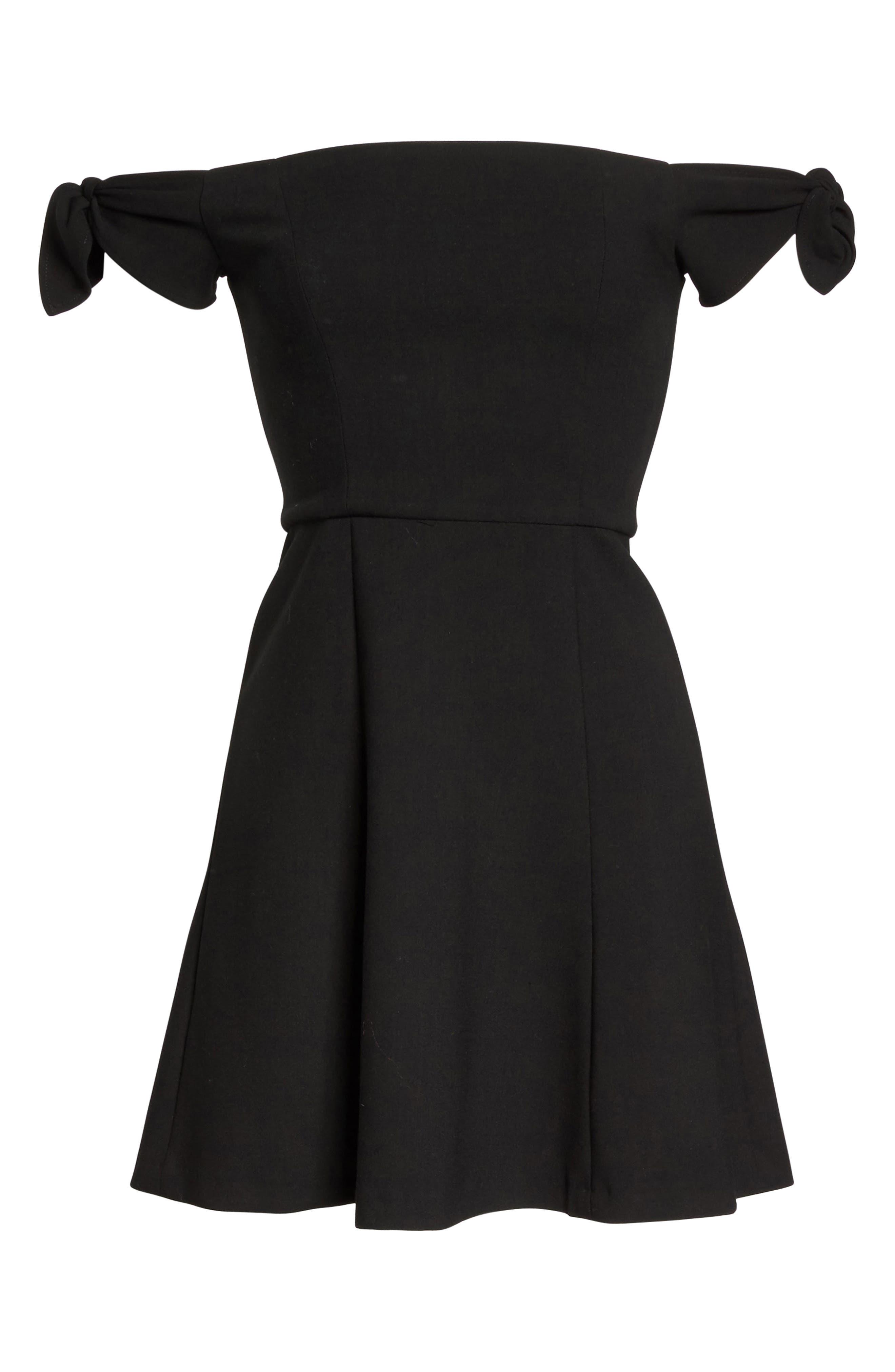 Whisper Light Fit & Flare Dress,                             Alternate thumbnail 6, color,                             001