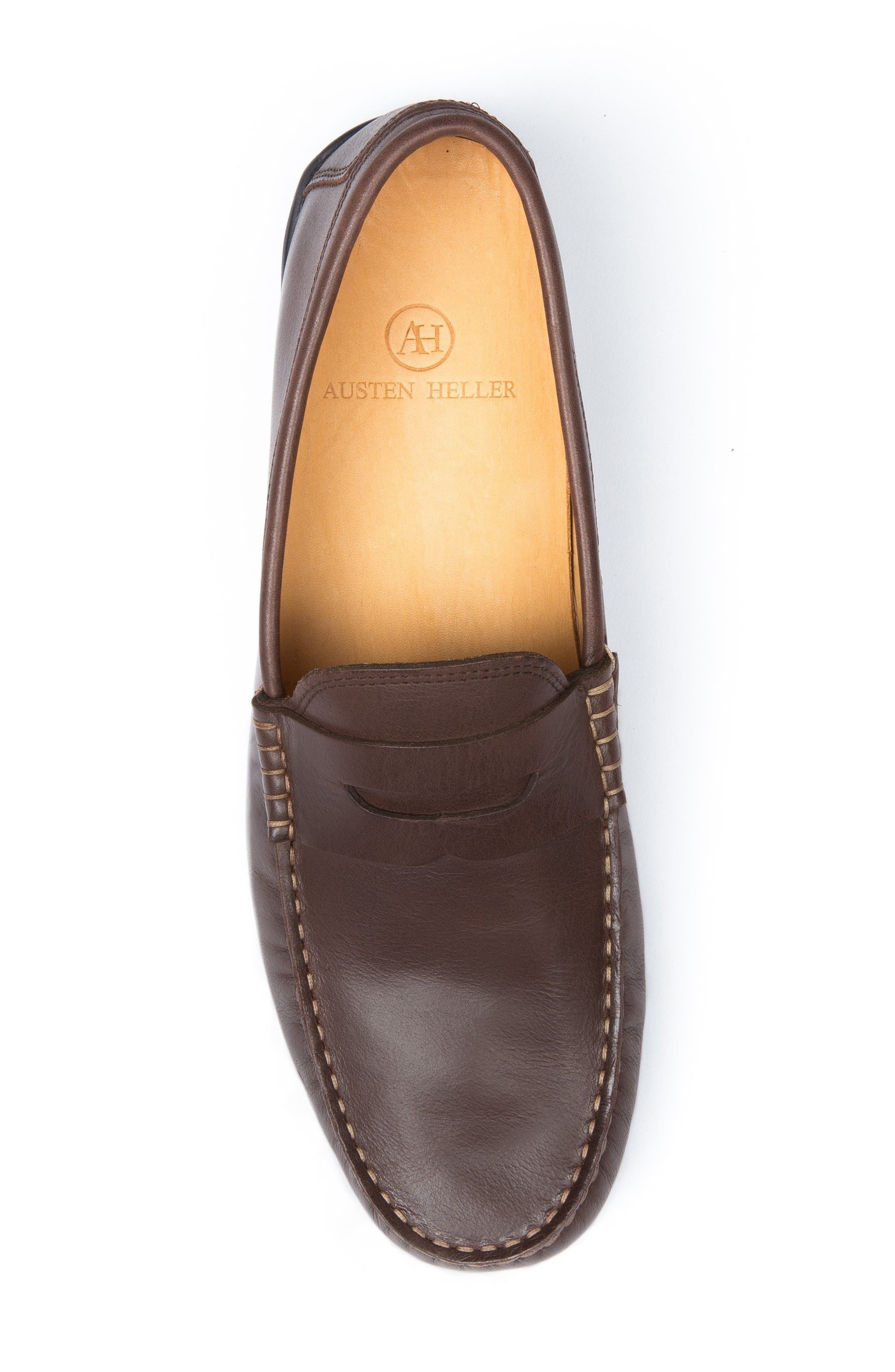 'Strattons' Driving Shoe,                             Alternate thumbnail 5, color,                             BROWN LEATHER/ NAVY