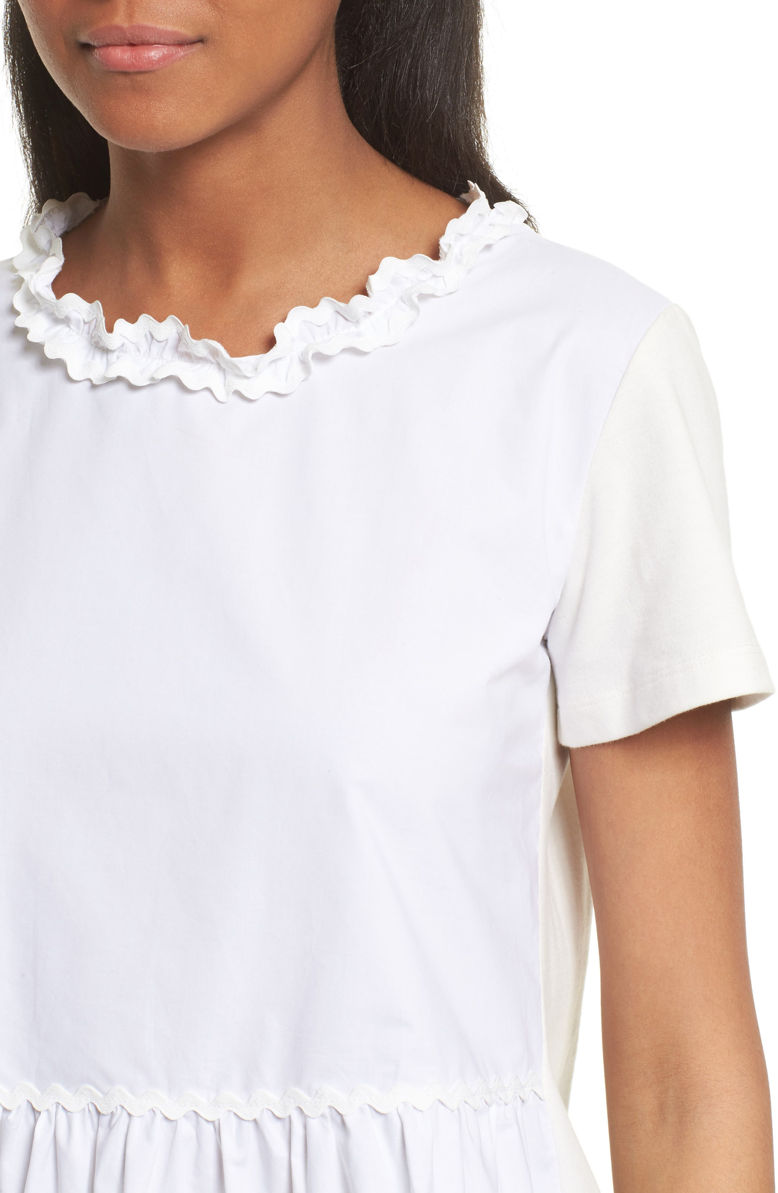 Tiered Ruffle Knit Top,                             Alternate thumbnail 4, color,                             100