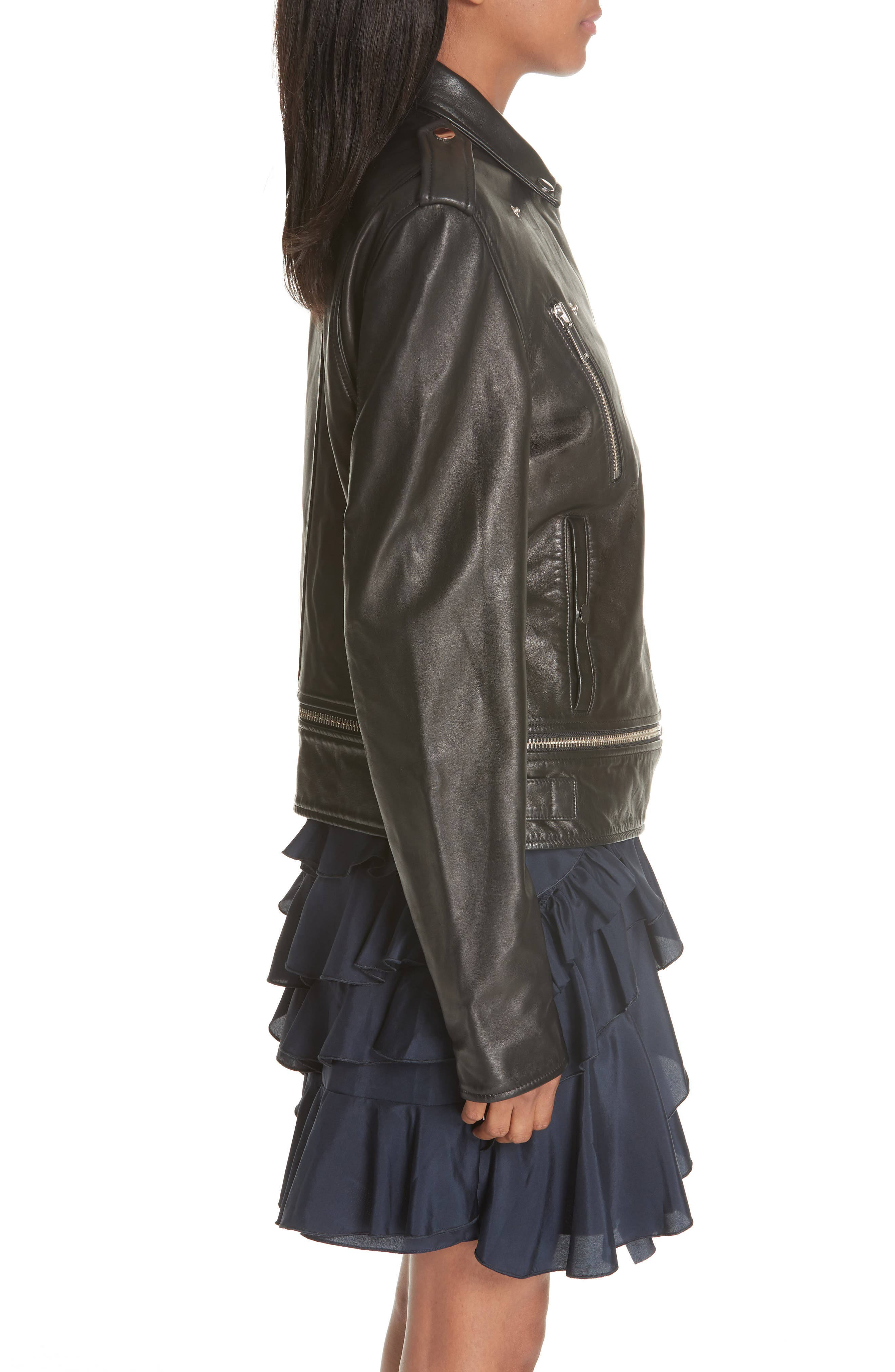 Lambskin Leather Jacket,                             Alternate thumbnail 4, color,                             BLACK