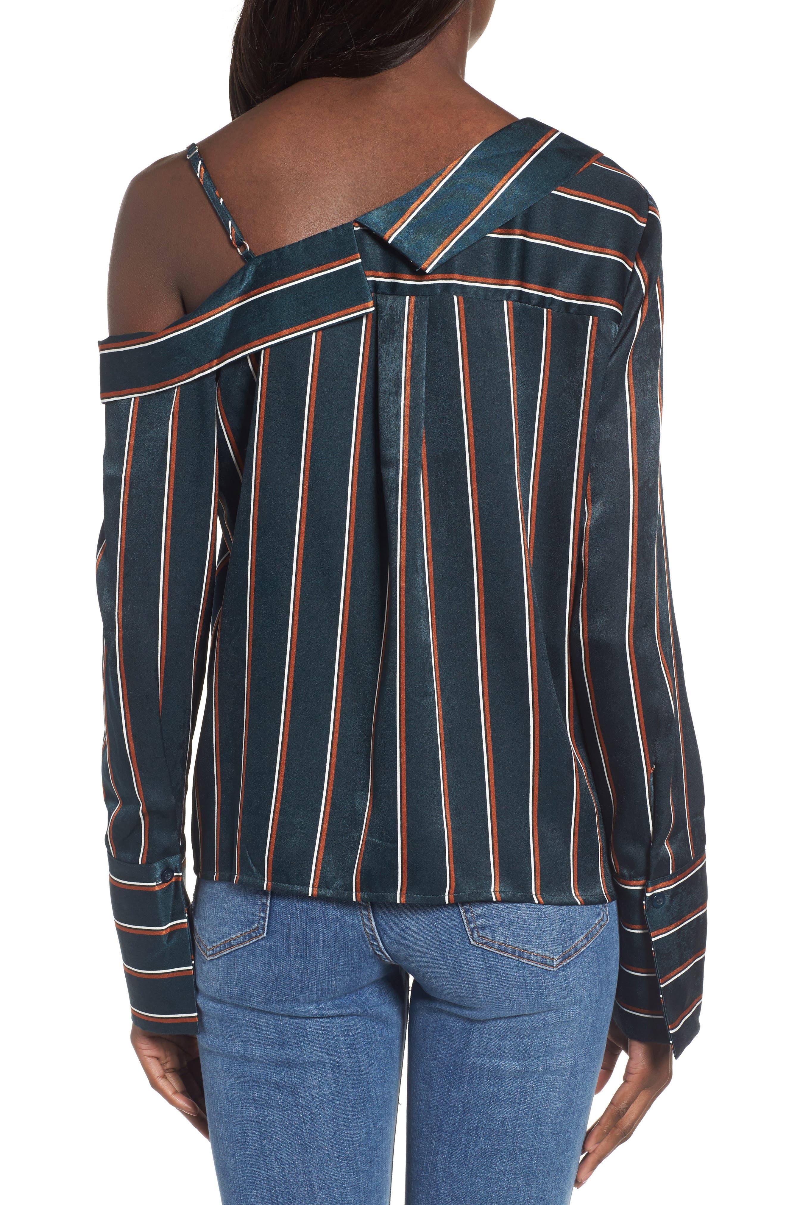 One-Shoulder Stripe Shirt,                             Alternate thumbnail 2, color,                             360