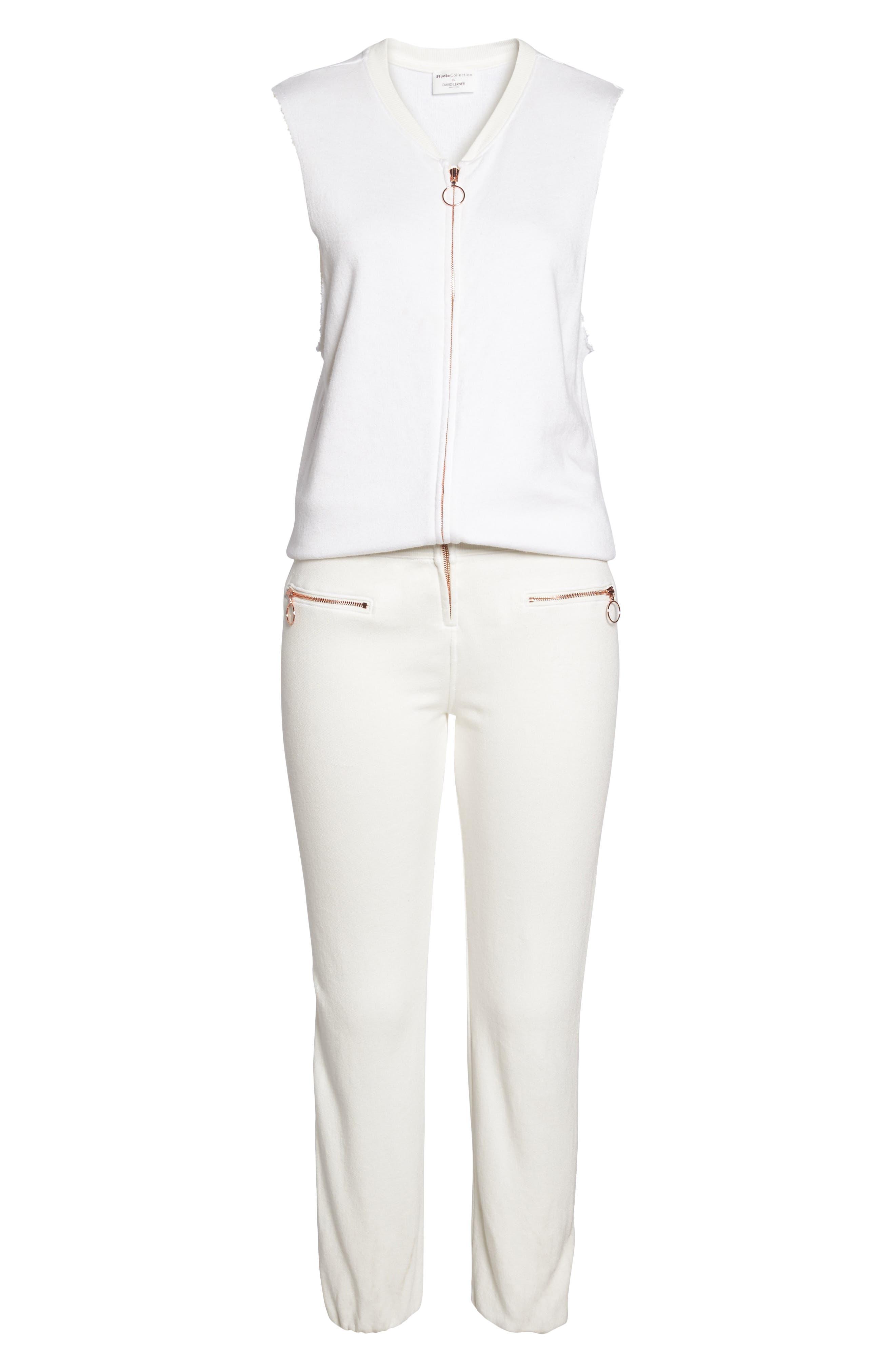 Zip Front Lounge Jumpsuit,                             Alternate thumbnail 6, color,                             WHITE
