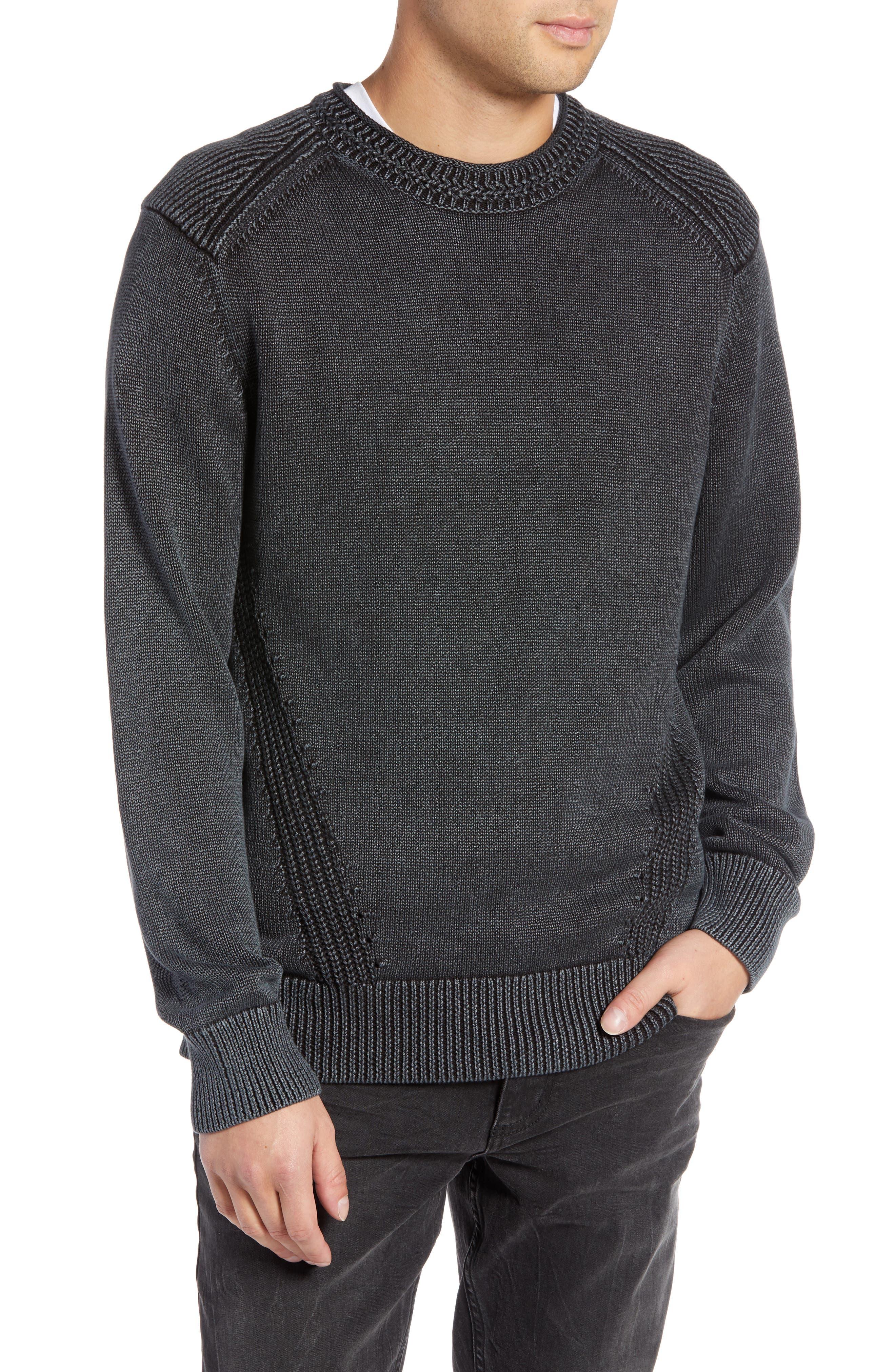 Washed Crewneck Sweater,                             Main thumbnail 1, color,                             BLACK ROCK