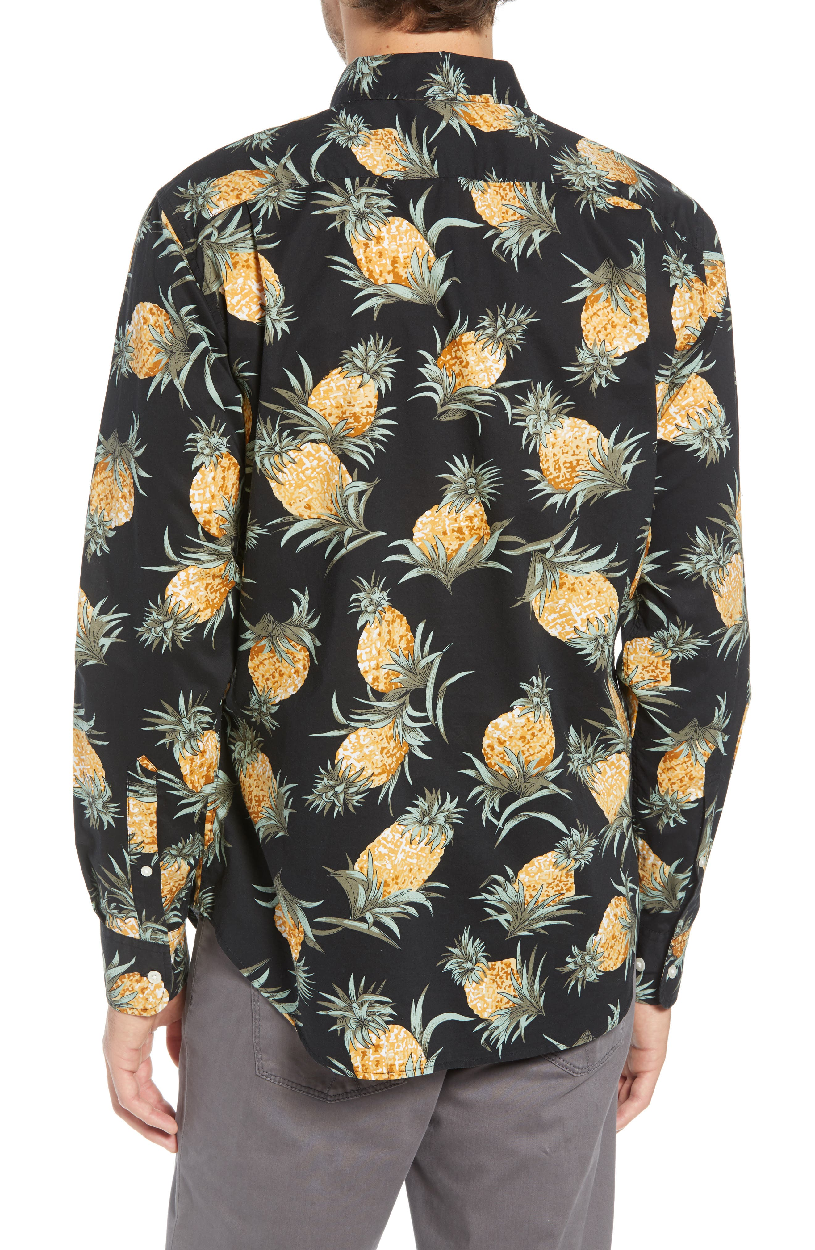 Summerweight Slim Fit Pineapple Print Sport Shirt,                             Alternate thumbnail 3, color,                             PINEAPPLES - JET BLACK