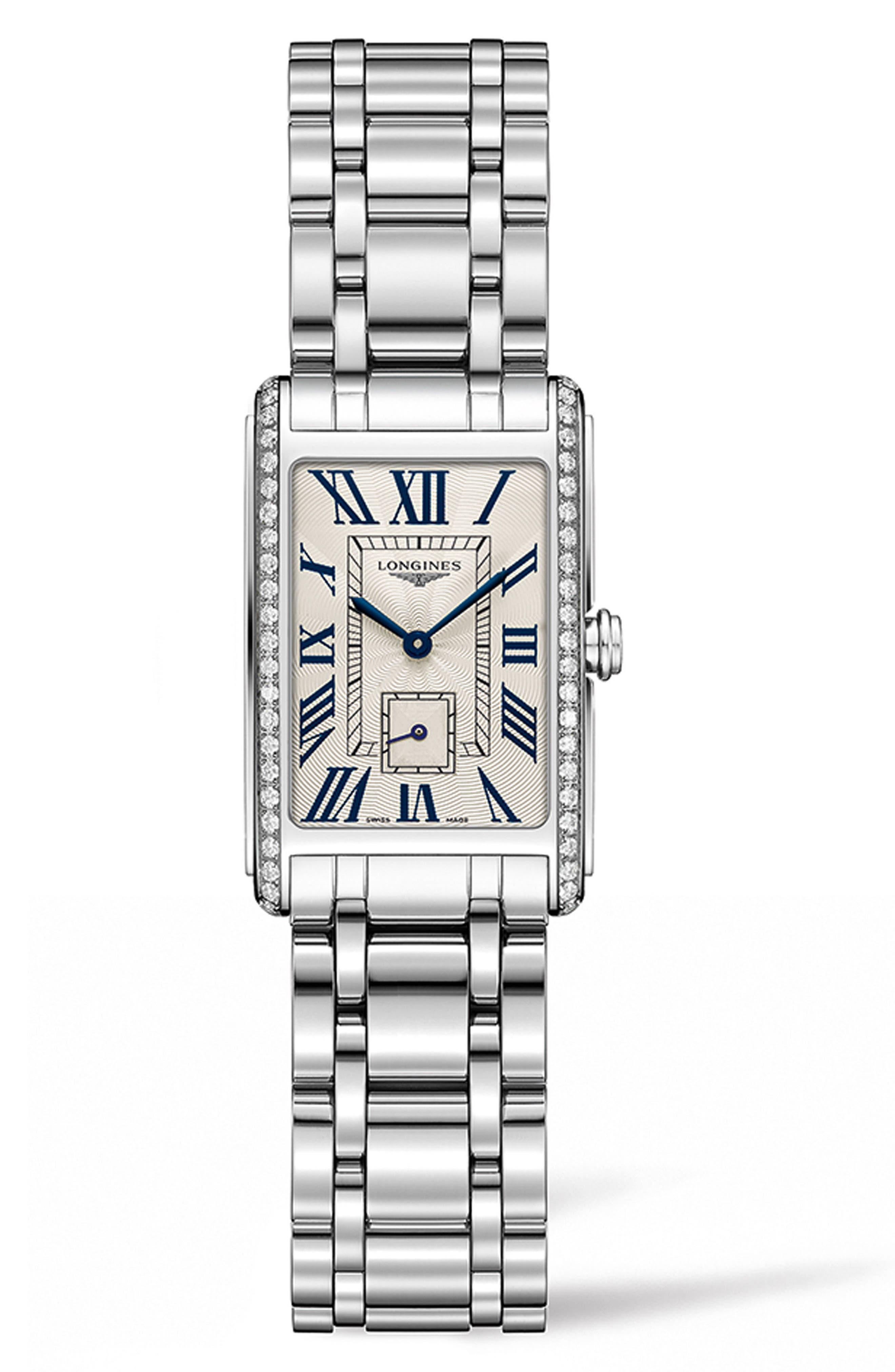 DolceVita Diamond Bracelet Watch, 20.5mm x 32mm,                             Main thumbnail 1, color,                             SILVER