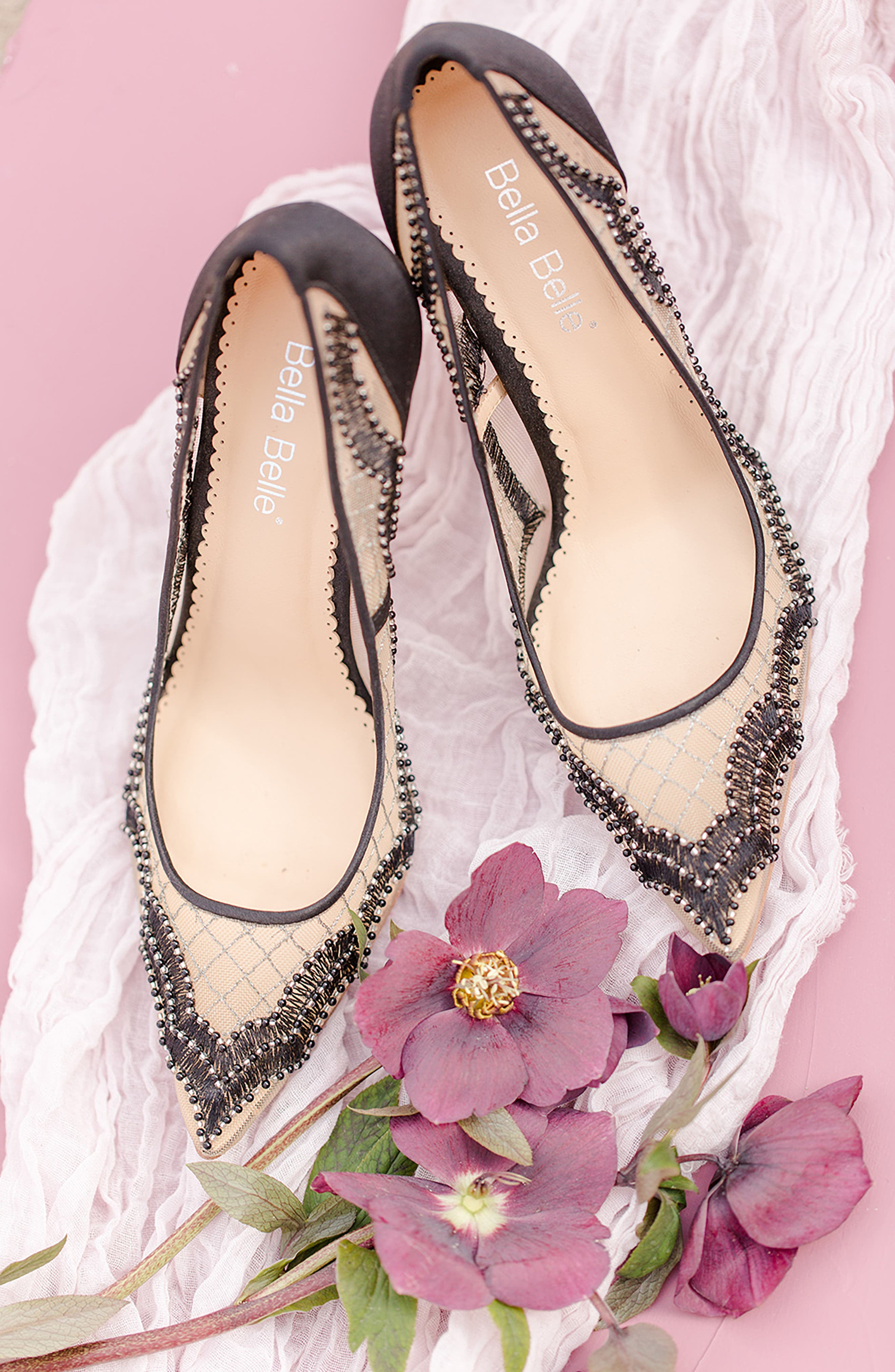 Nadia Scalloped Embroidery Pump,                             Alternate thumbnail 7, color,                             BLACK