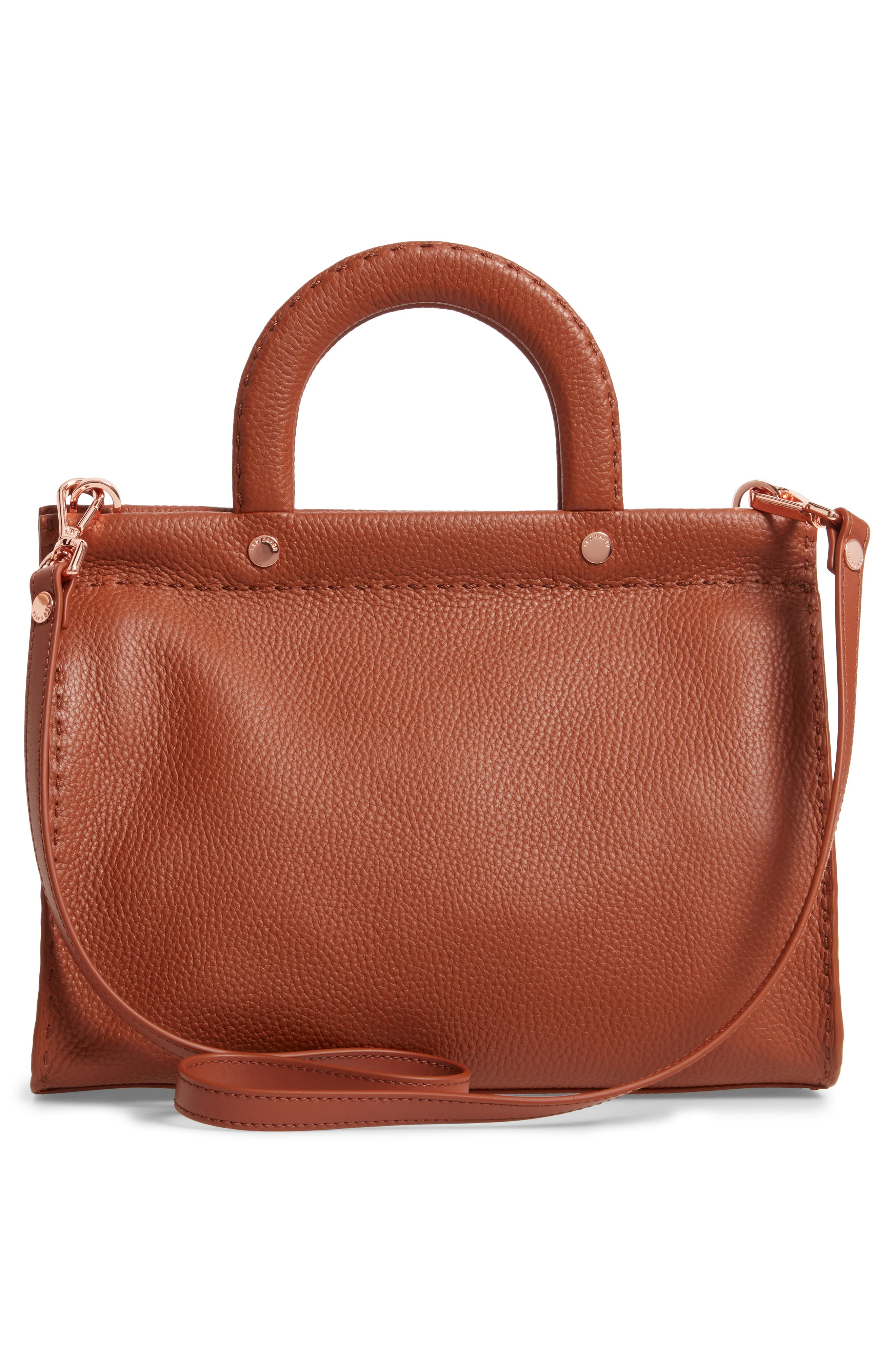 TED BAKER LONDON,                             Monicaa Leather Satchel,                             Alternate thumbnail 3, color,                             BROWN