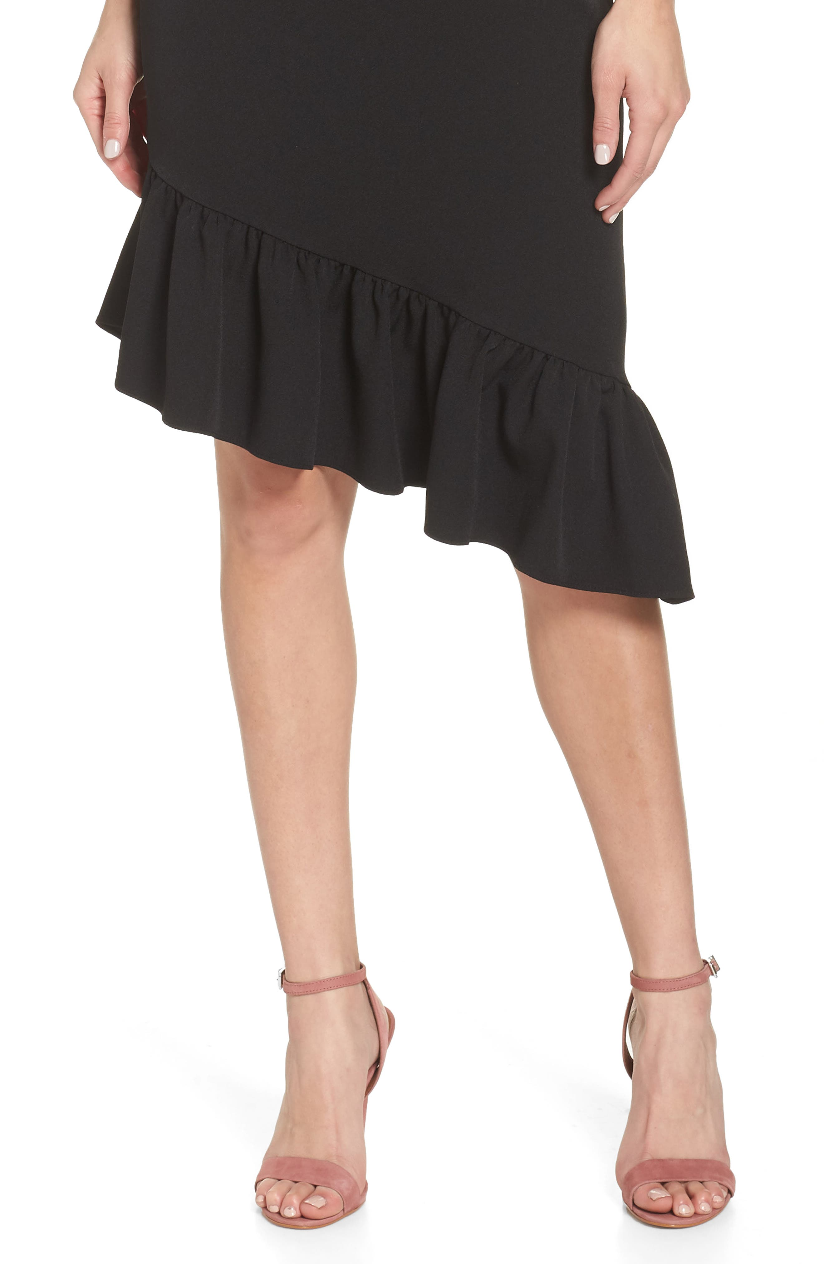 Asymmetric Ruffle Hem Dress,                             Alternate thumbnail 6, color,                             001