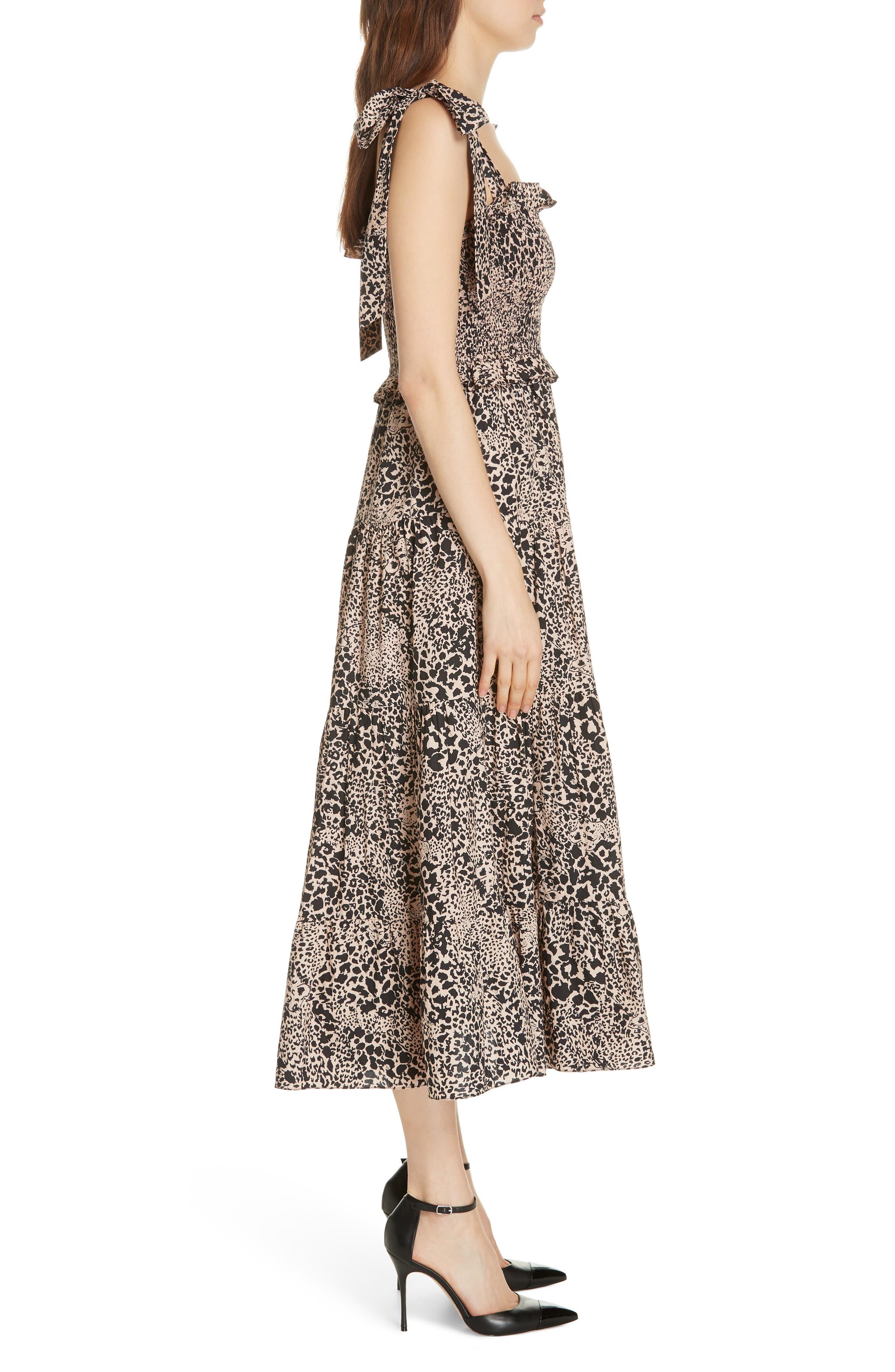 Leopard Print Smocked Dress,                             Alternate thumbnail 3, color,                             CHAMPAGNE COMBO