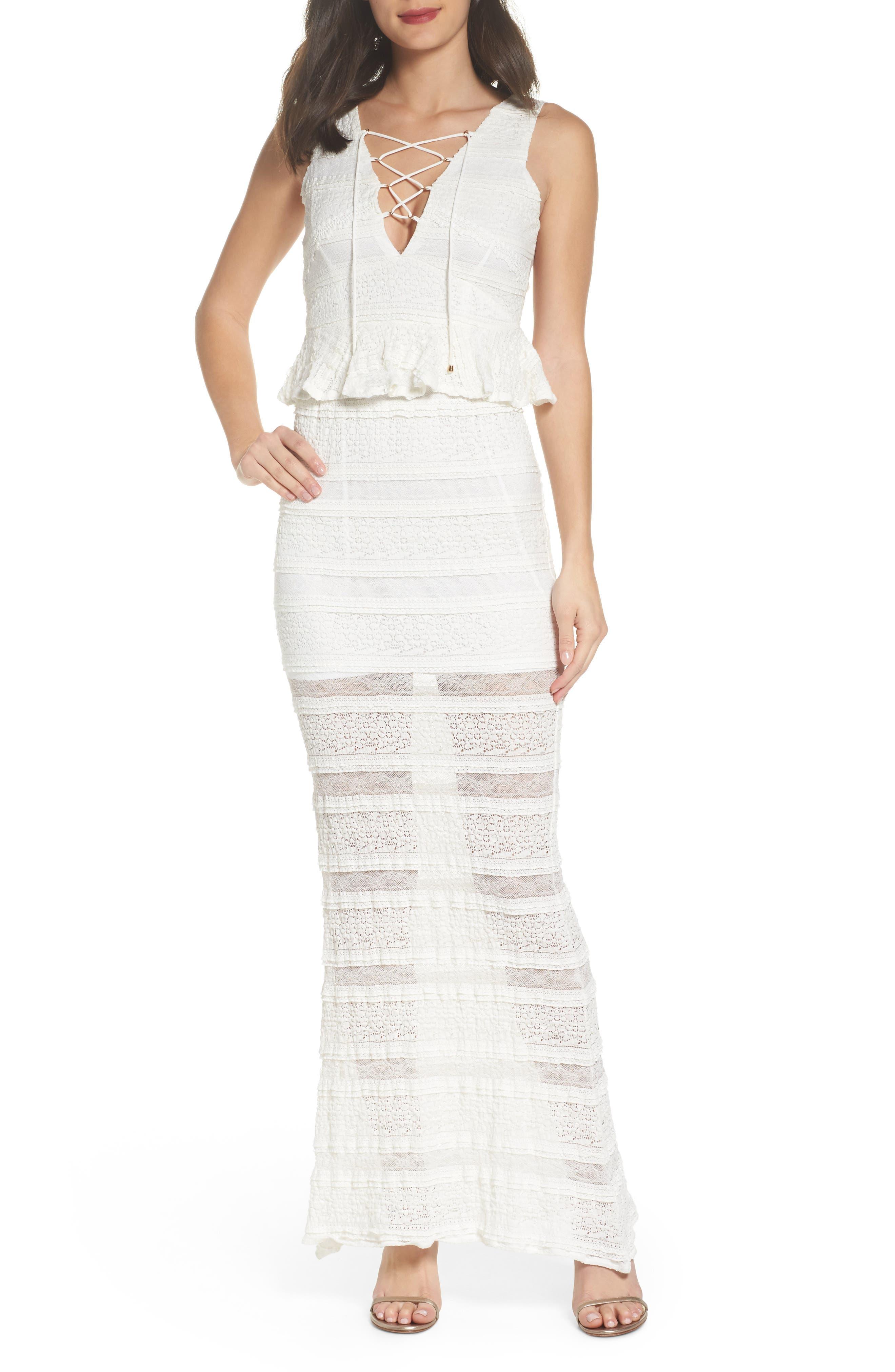 Makayla Peplum Lace Maxi Dress,                         Main,                         color, 901