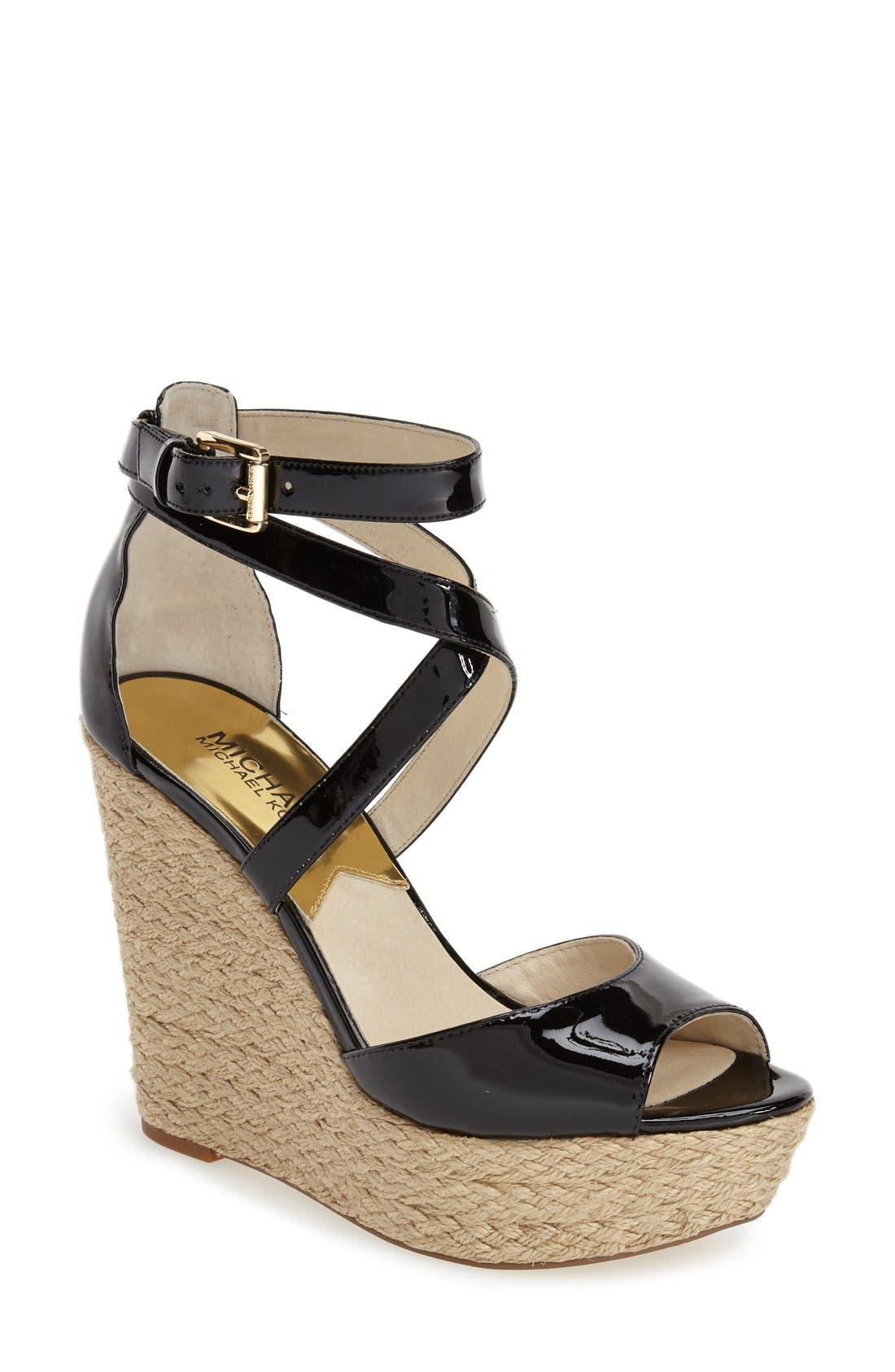 'Gabriella' Espadrille Wedge Sandal, Main, color, 001