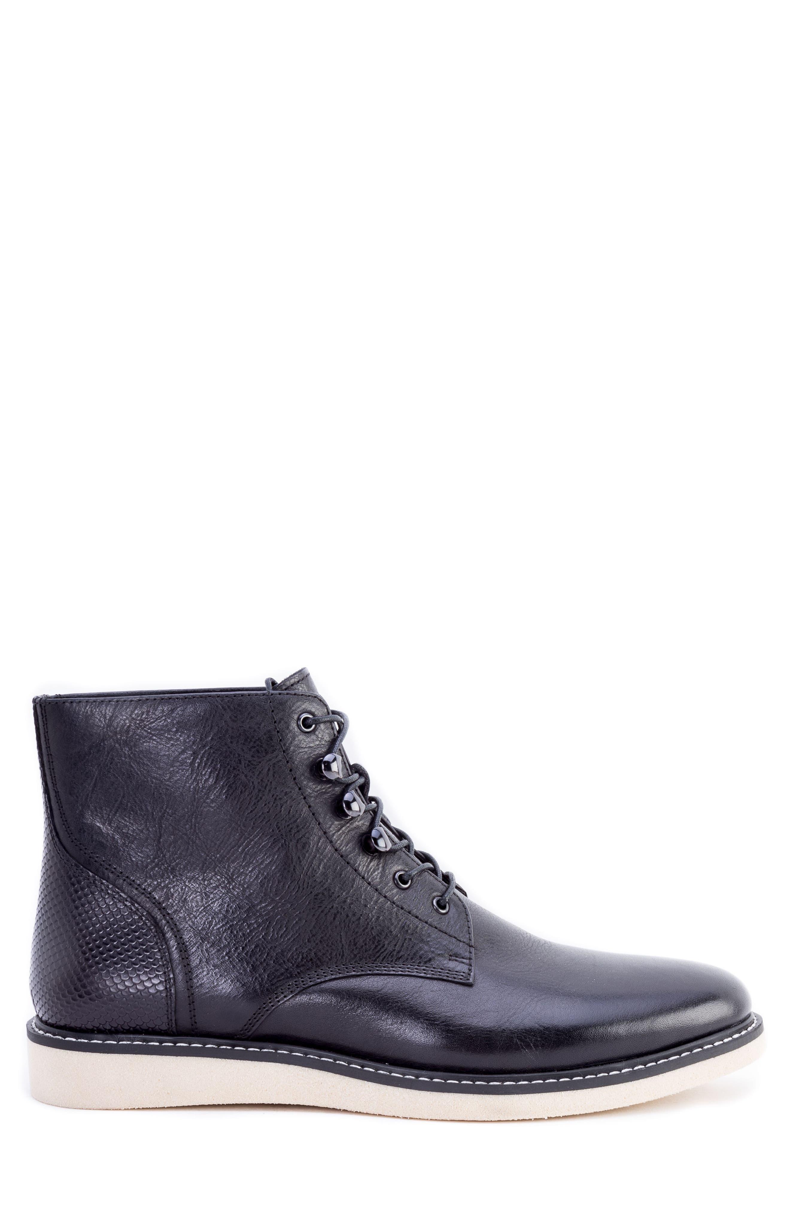 Finch Plain Toe Boot,                             Alternate thumbnail 3, color,                             BLACK LEATHER