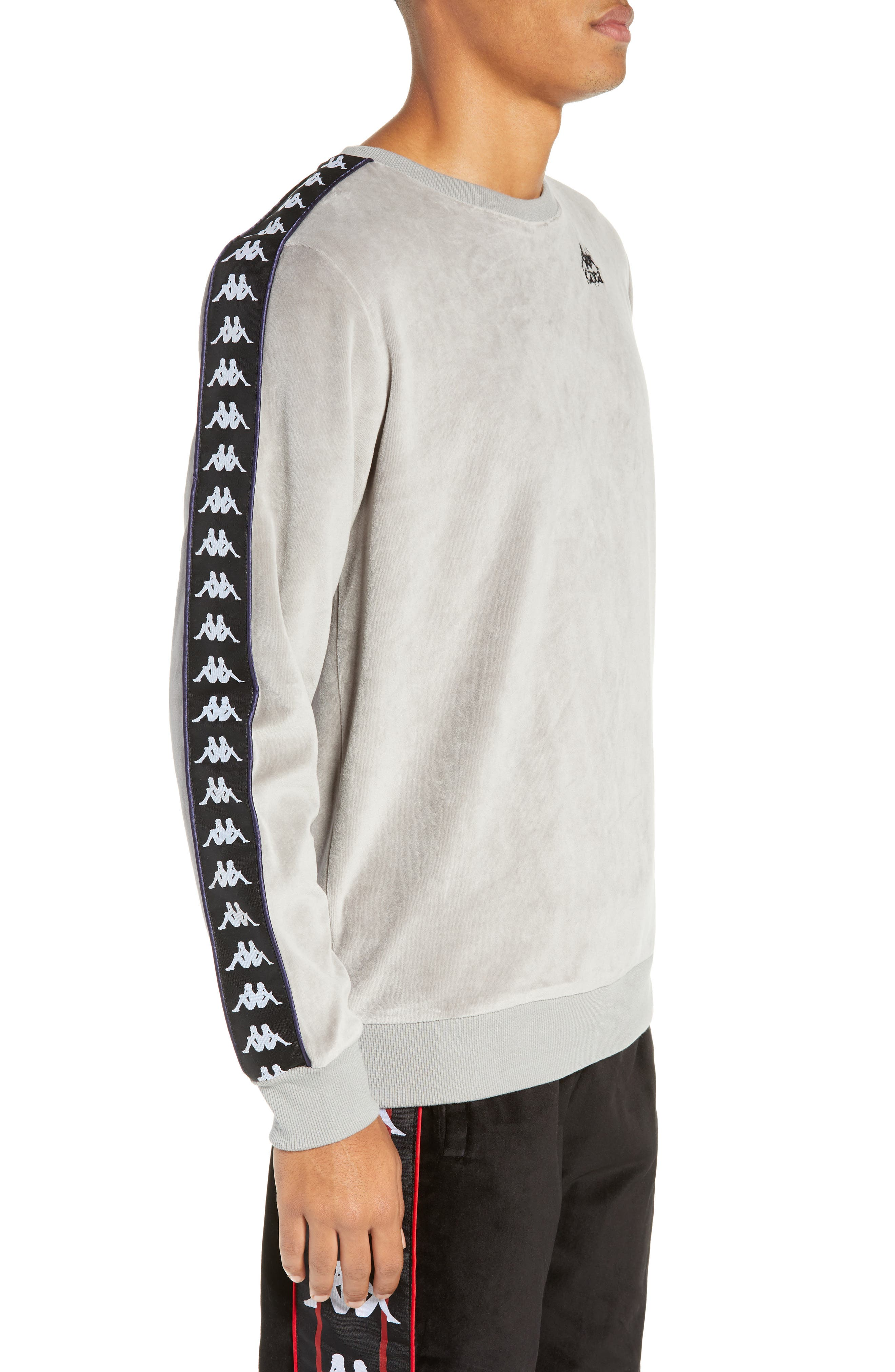 Authentic Aynset Velour Crewneck Sweatshirt,                             Alternate thumbnail 3, color,                             GREY MIST/ BLACK/ WHITE