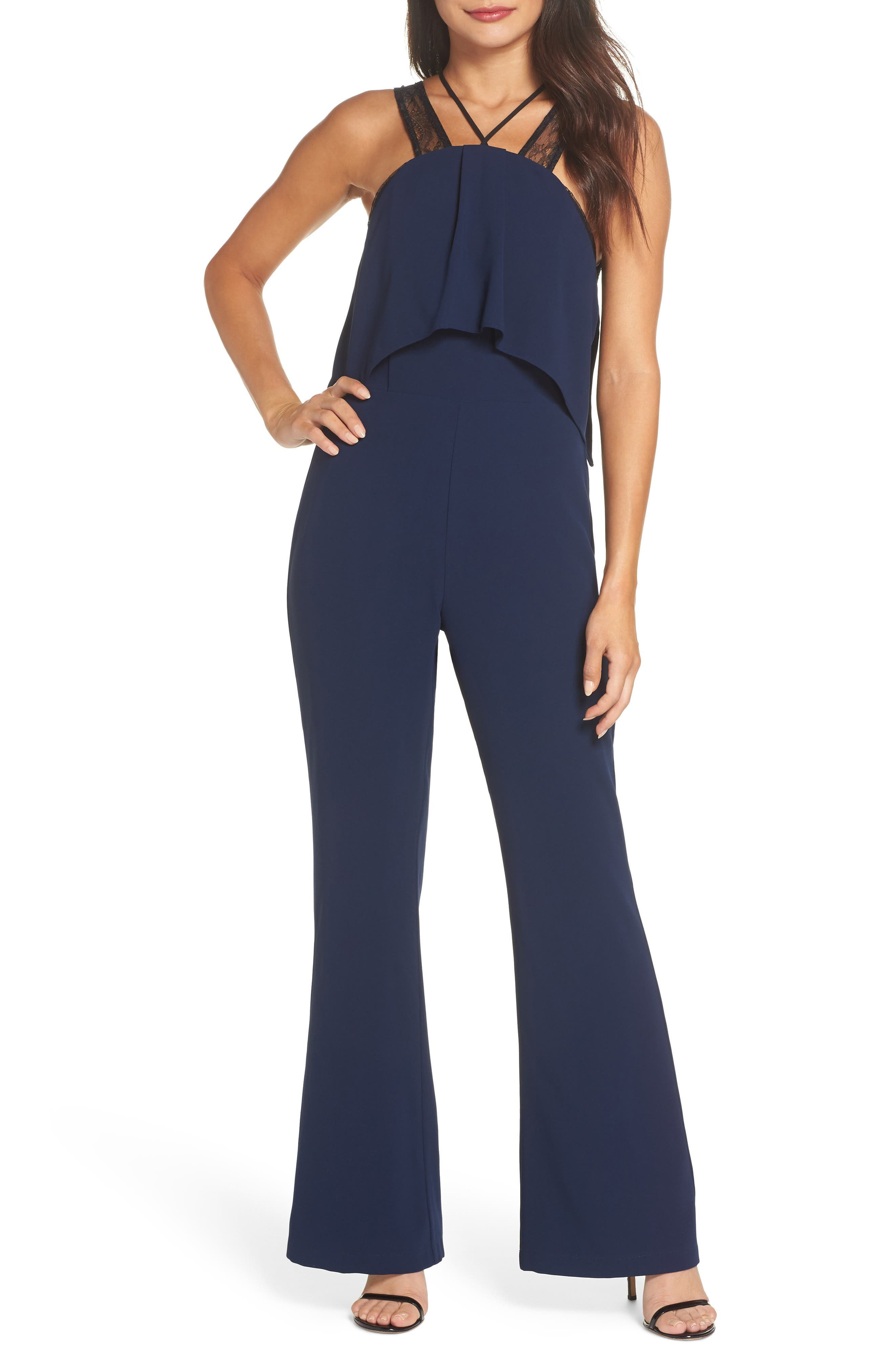Lace Strap Popover Bodice Jumpsuit,                         Main,                         color, NAVY