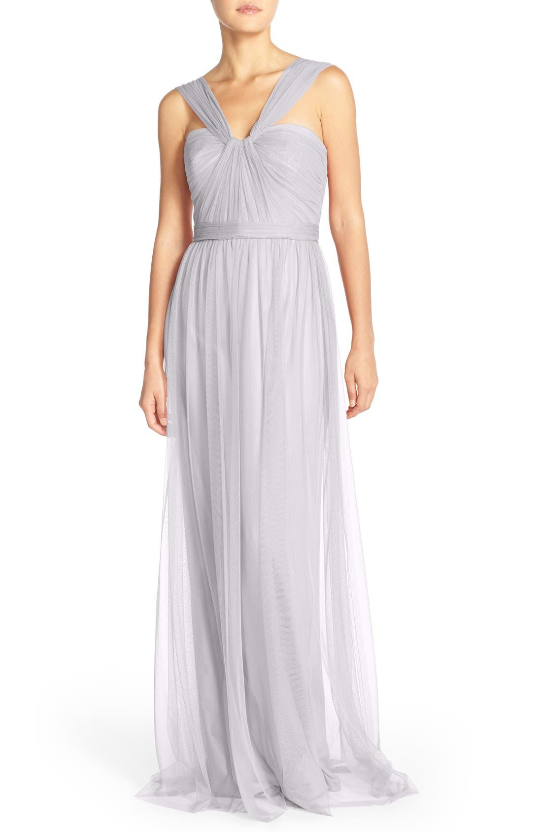 AMSALE,                             'Aisha' Tulle Twisted V-Neck Gown,                             Main thumbnail 1, color,                             050