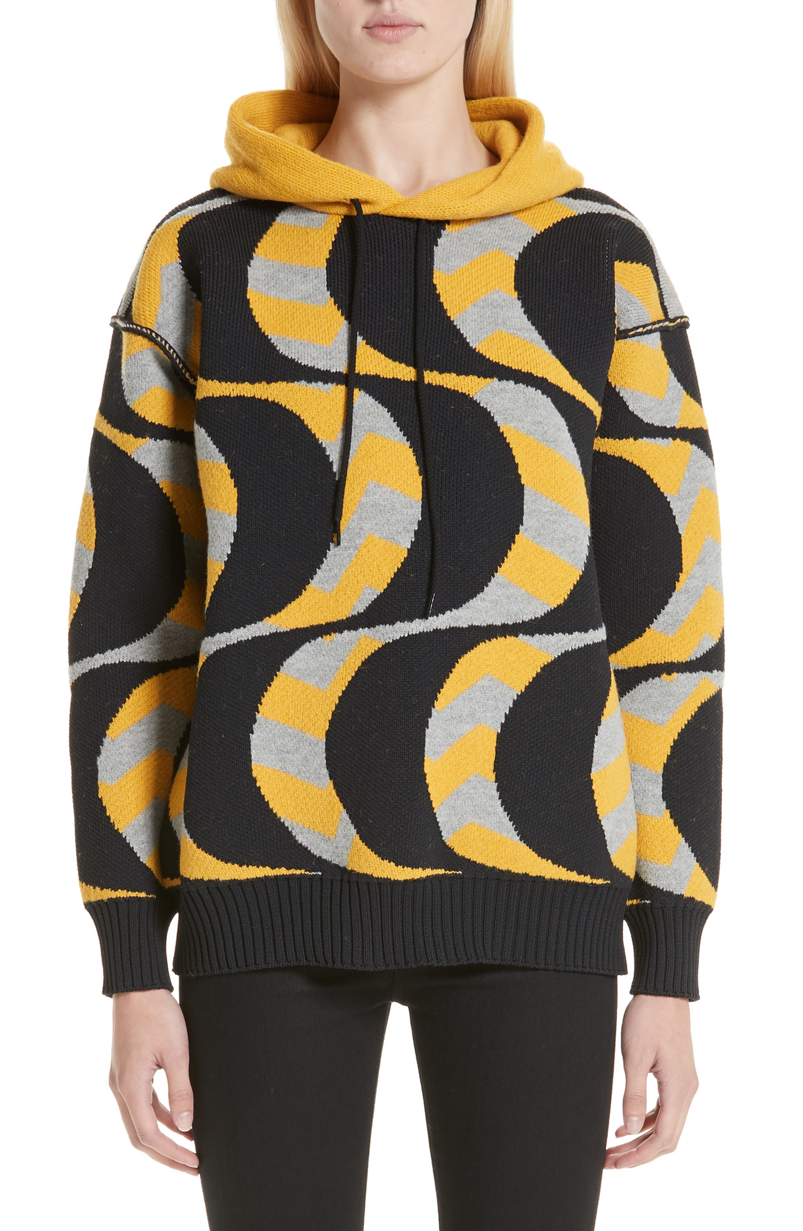 Swirl Print Oversized Hoodie,                             Main thumbnail 1, color,                             BLACK/ YELLOW