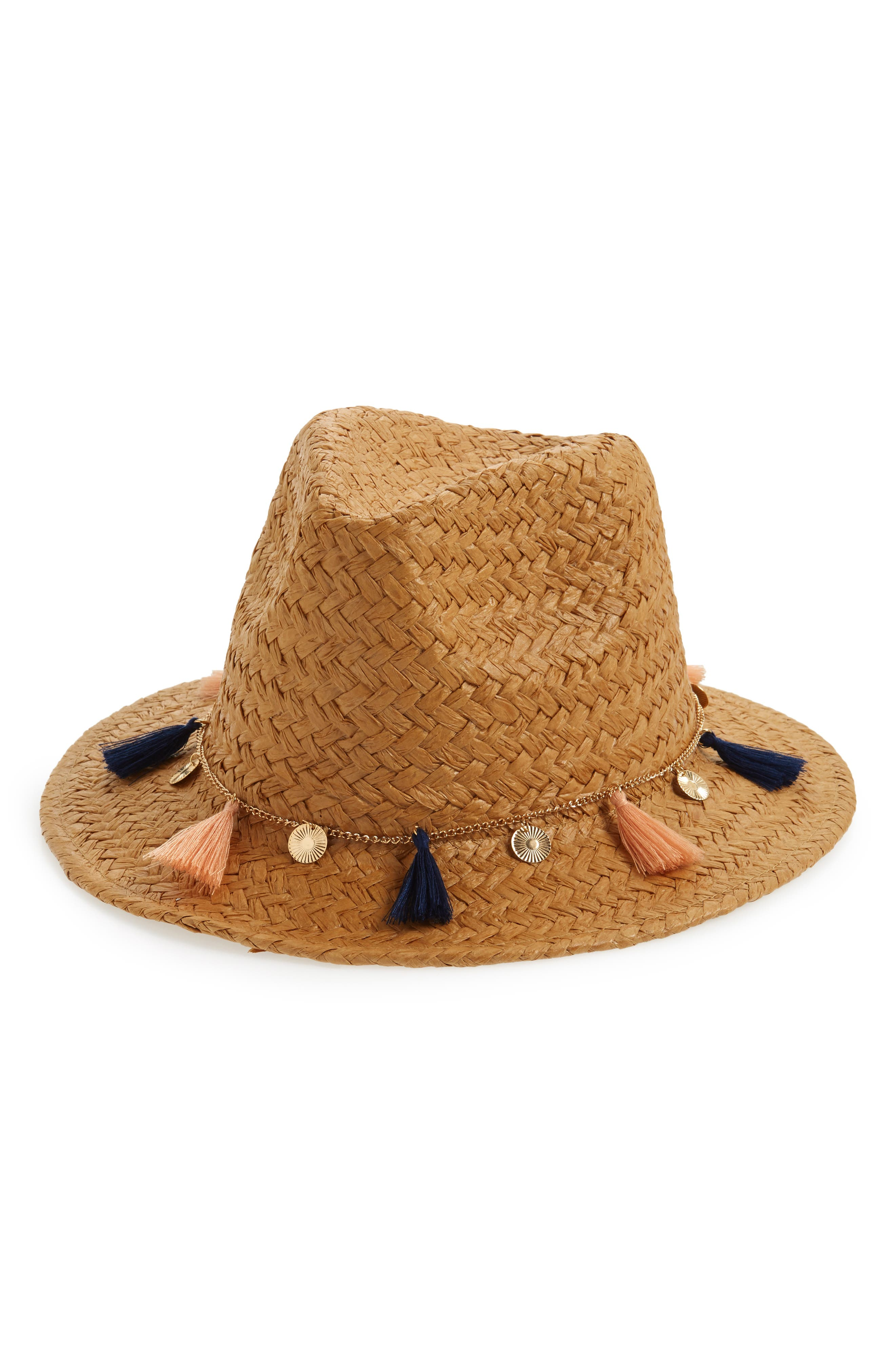 Tassel & Coin Detail Straw Fedora,                         Main,                         color, 250