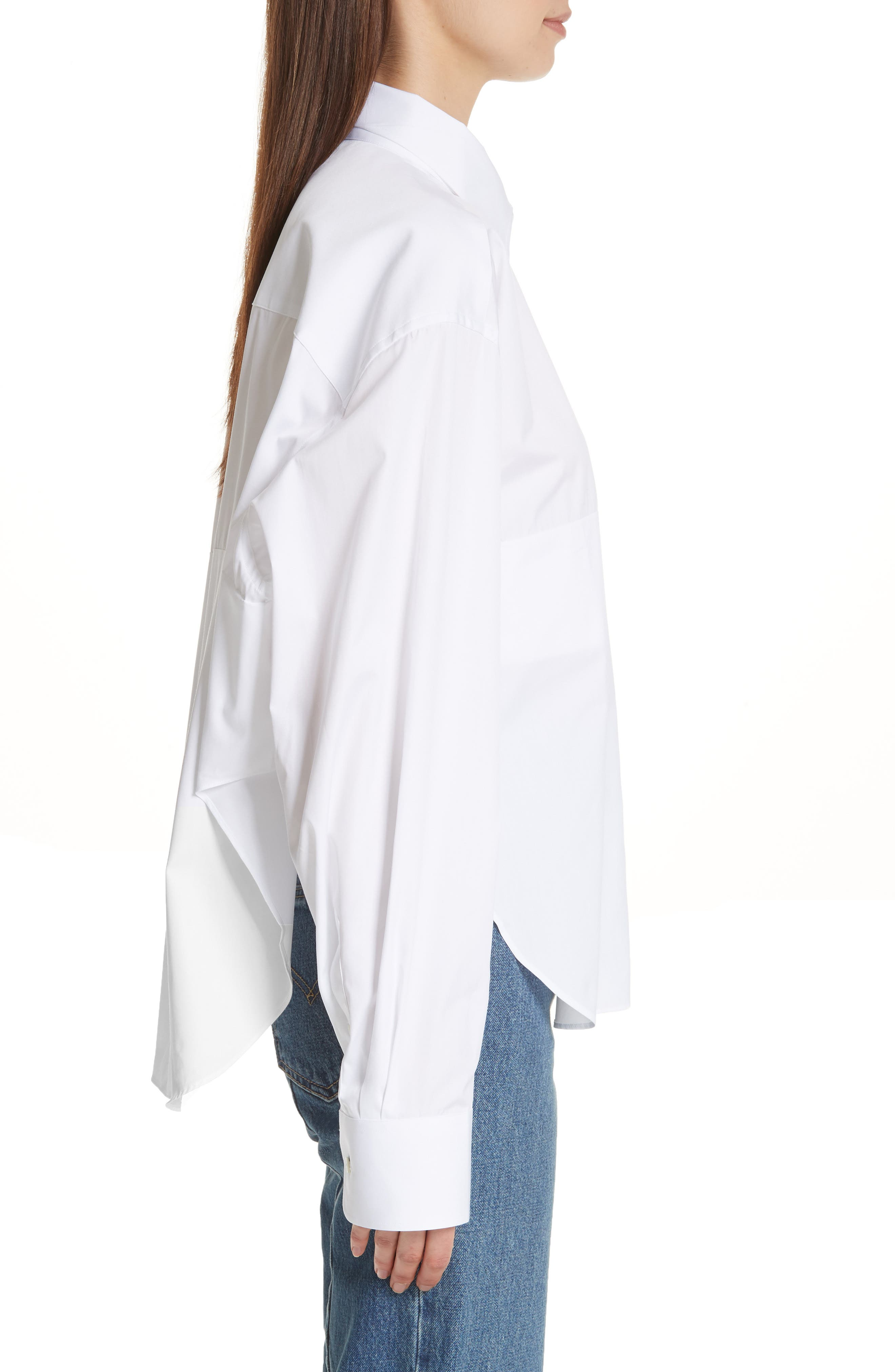 Crop Cotton Shirt,                             Alternate thumbnail 3, color,                             100