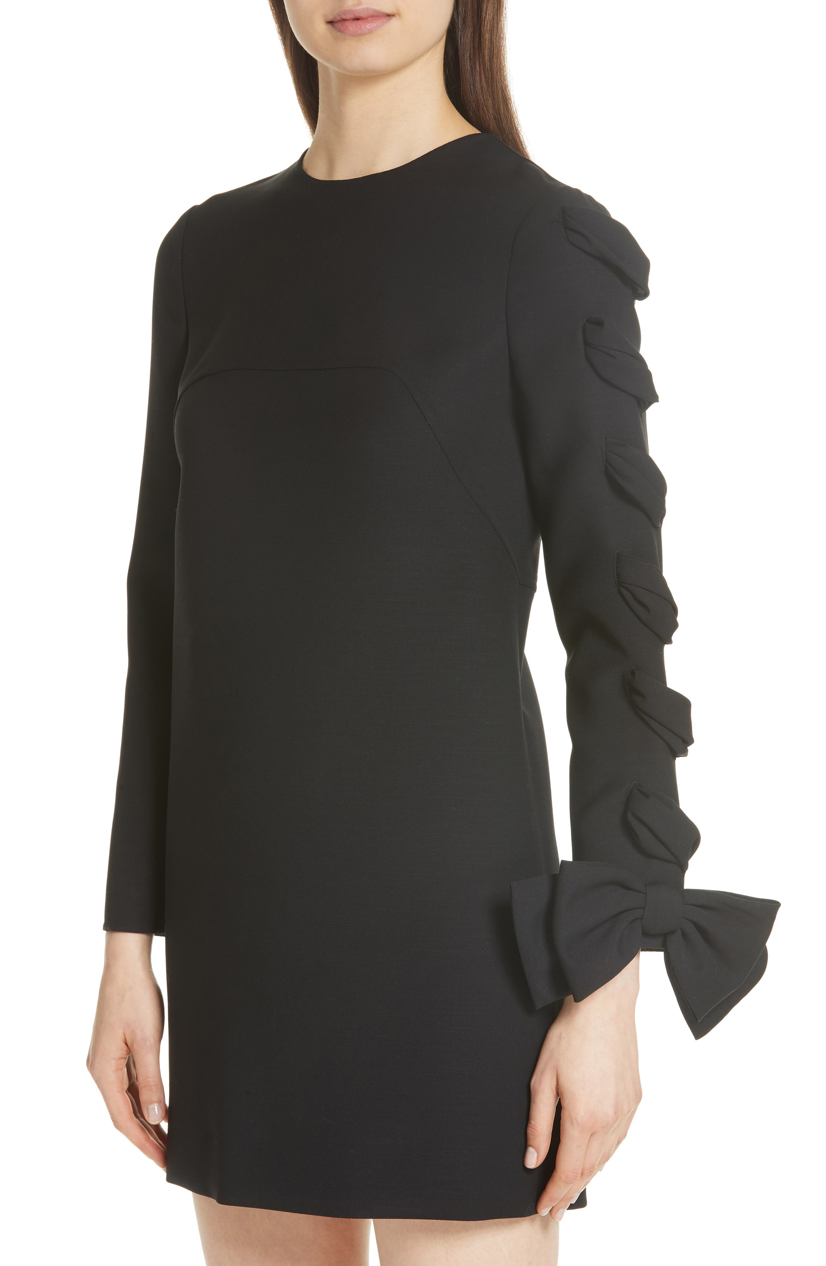 Very V Lace-Up Sleeve Dress,                             Alternate thumbnail 4, color,                             001