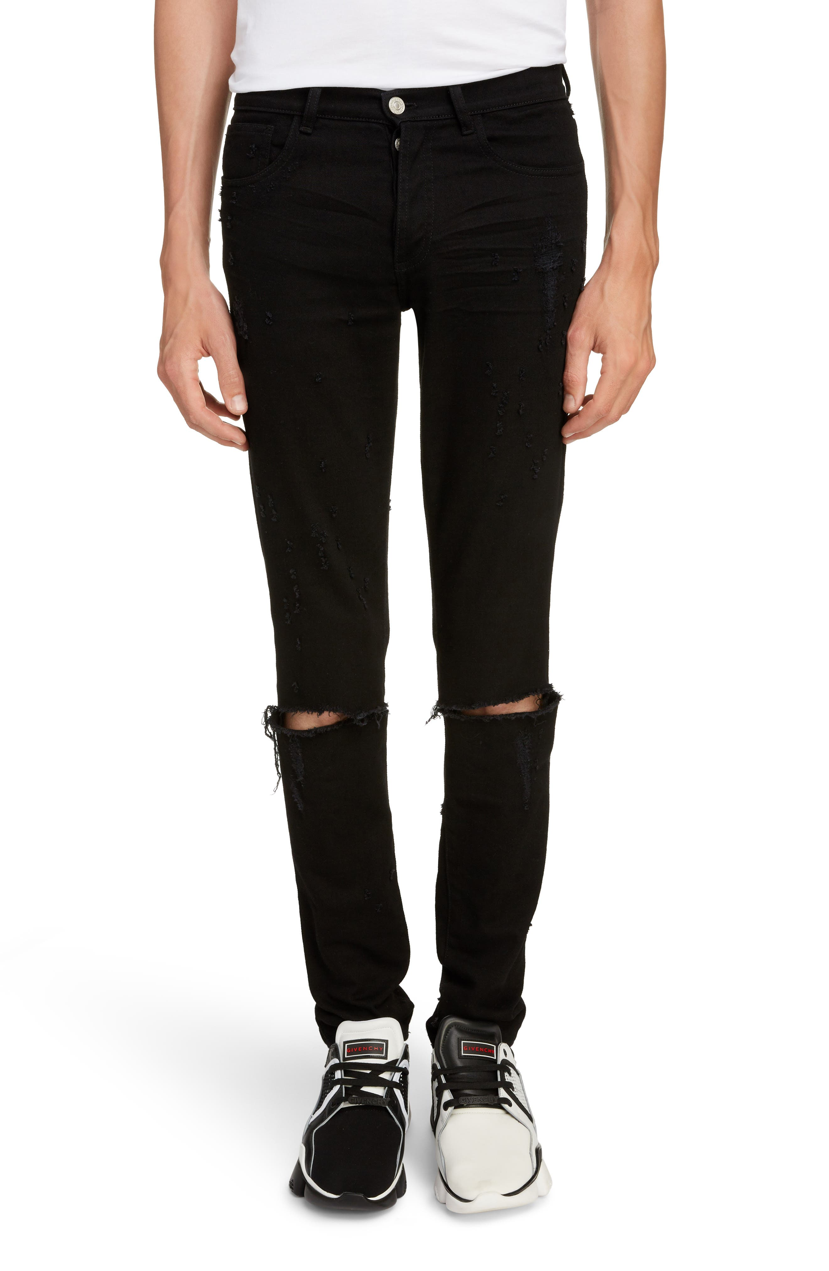 Skinny Fit Distressed Jeans, Main, color, BLACK