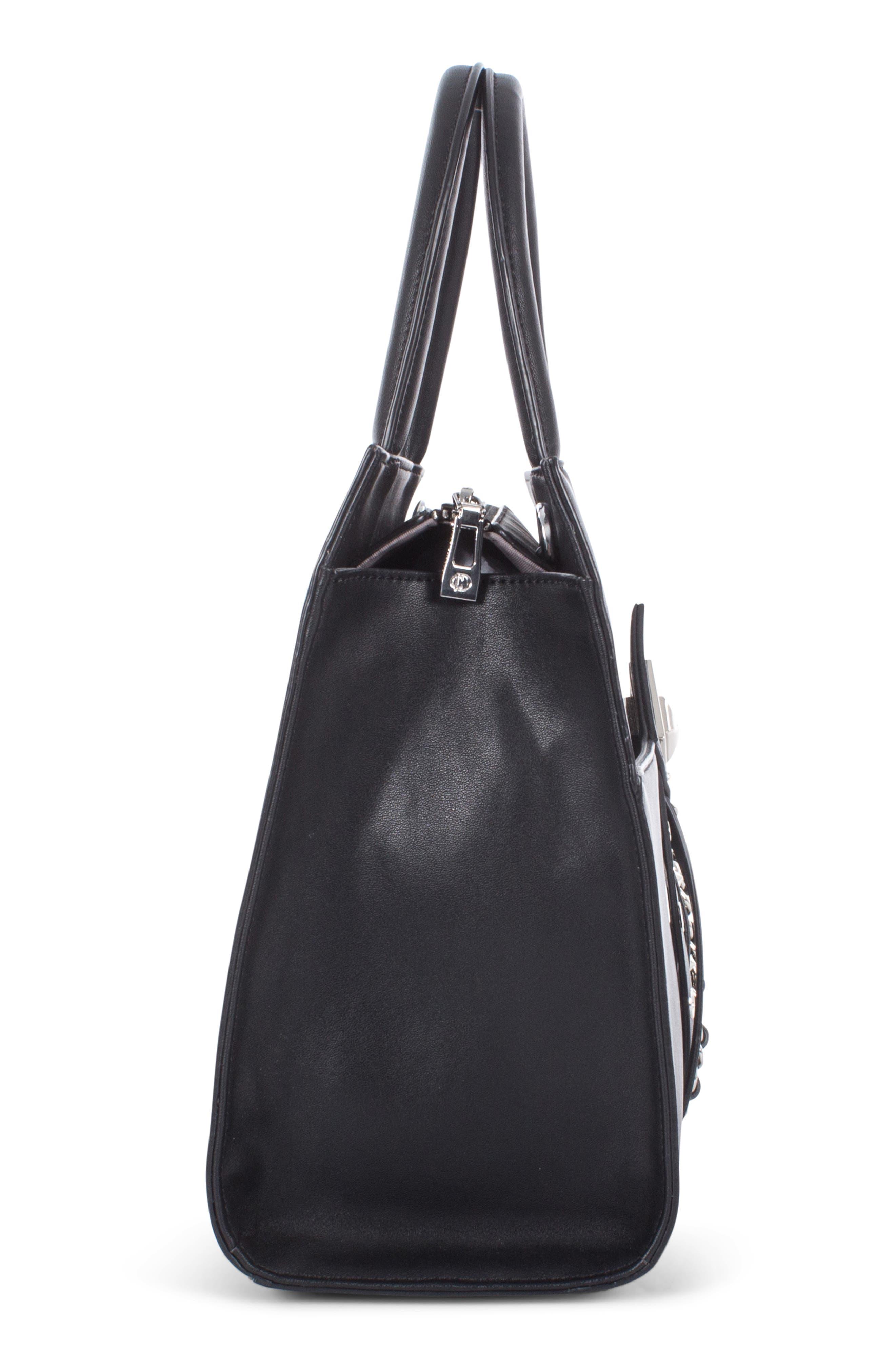 Céline Dion Legato Faux Leather Satchel,                             Alternate thumbnail 6, color,                             BLACK