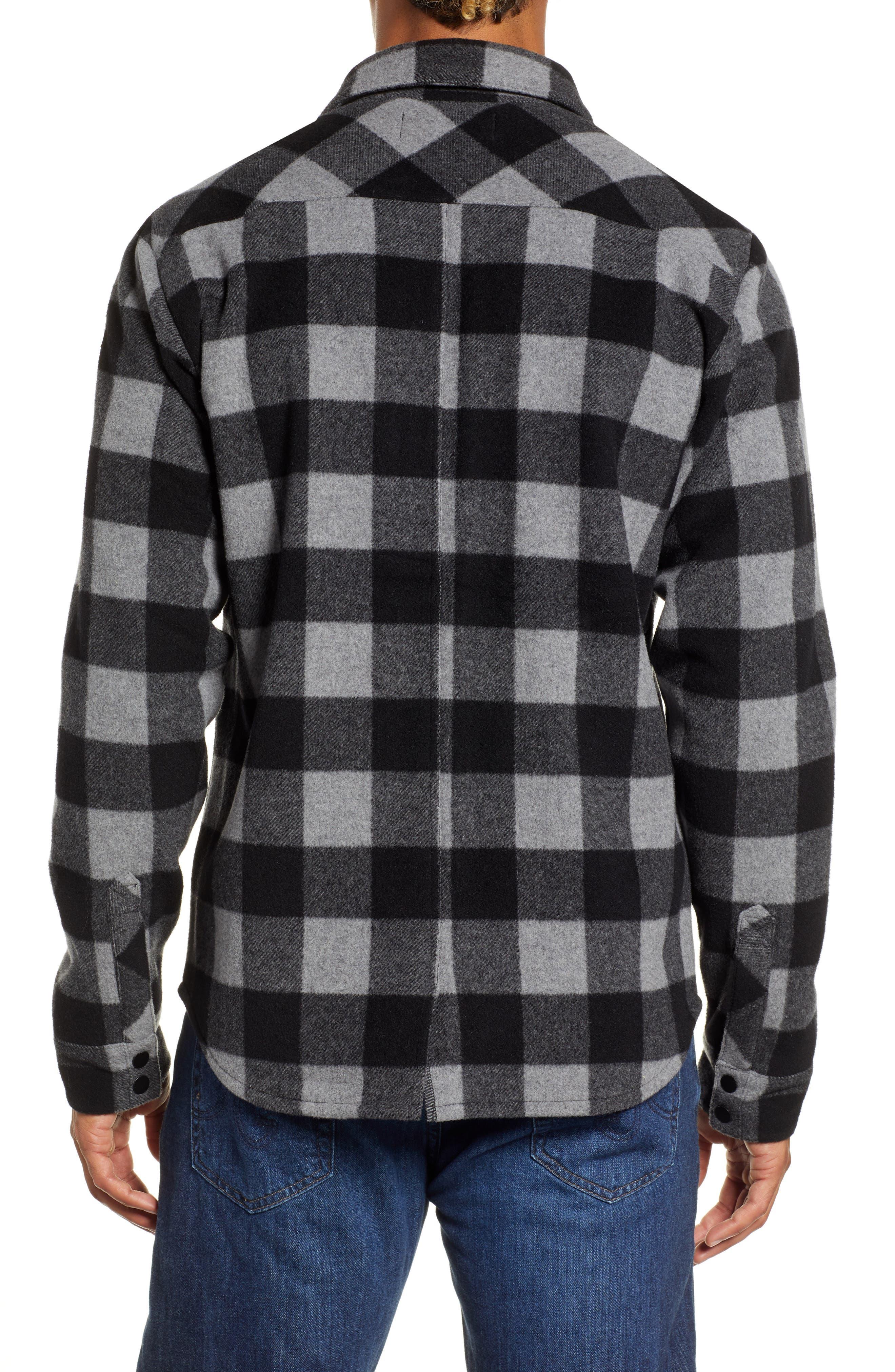 Anchor Line Flannel Shirt Jacket,                             Alternate thumbnail 3, color,                             MEDIUM GREY
