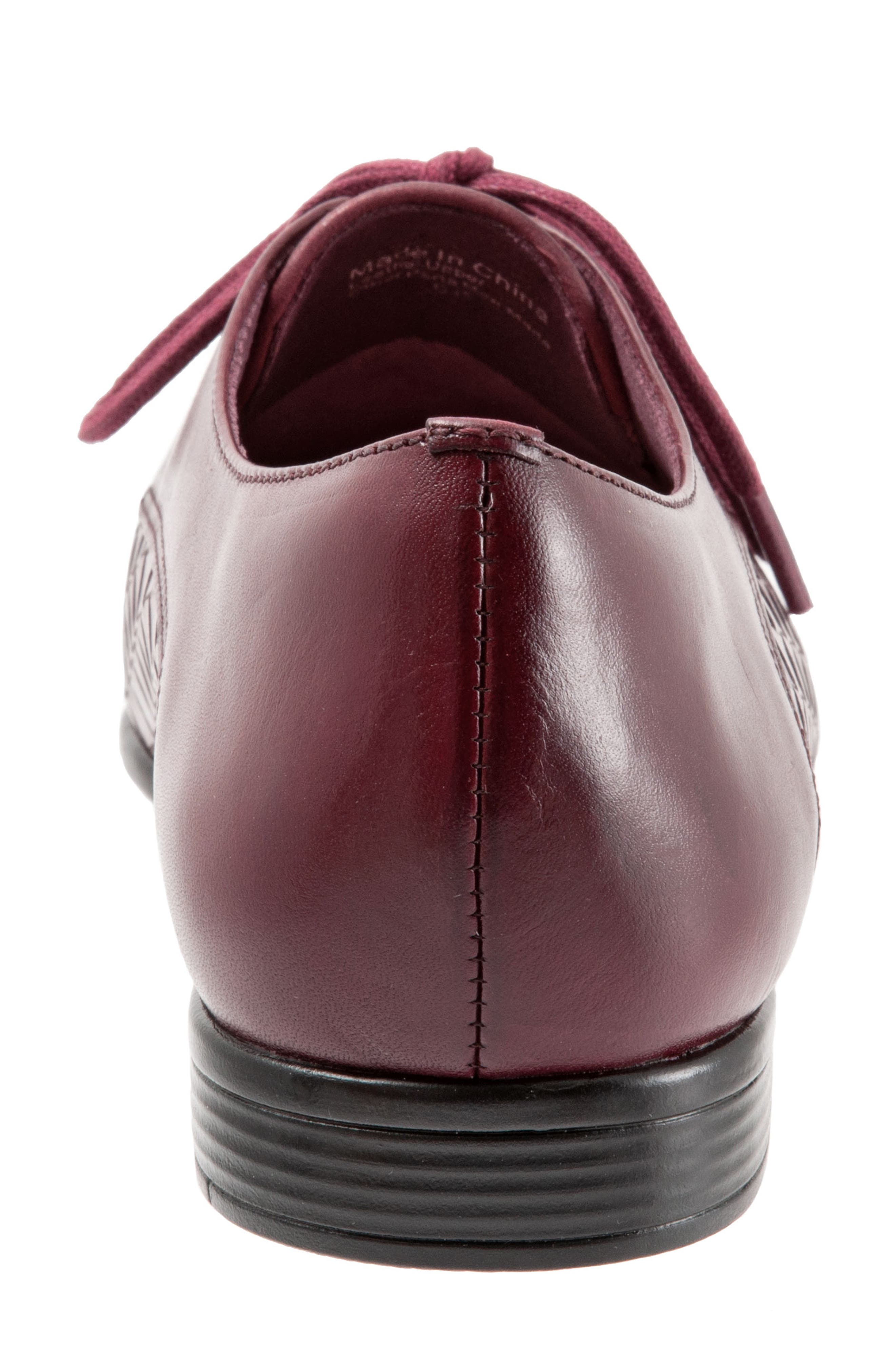 Lizzie Derby Flat,                             Alternate thumbnail 7, color,                             BLACK CHERRY LEATHER