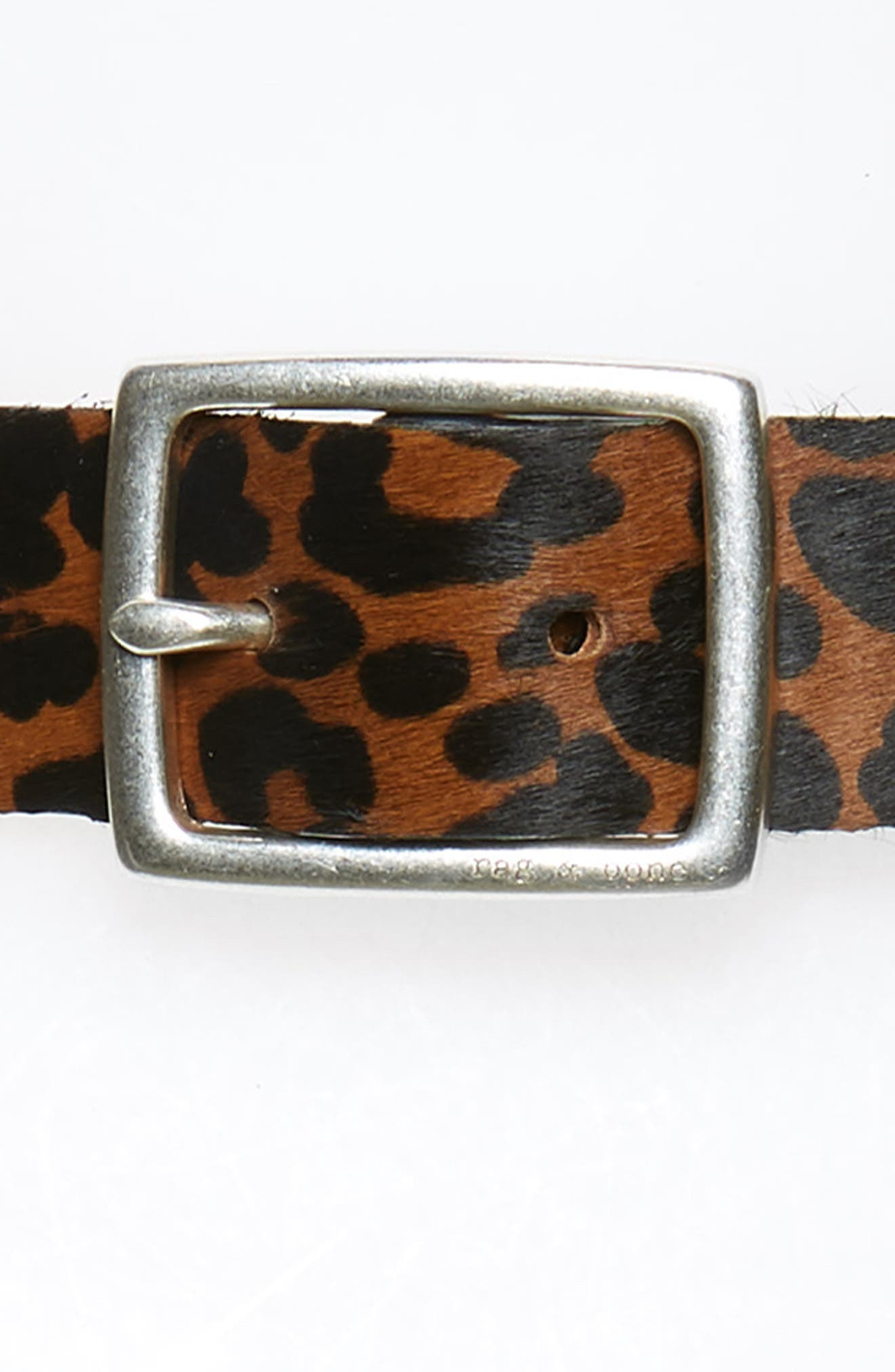 Boyfriend Leopard Calf Hair Belt,                             Alternate thumbnail 3, color,                             TAN LEOPARD