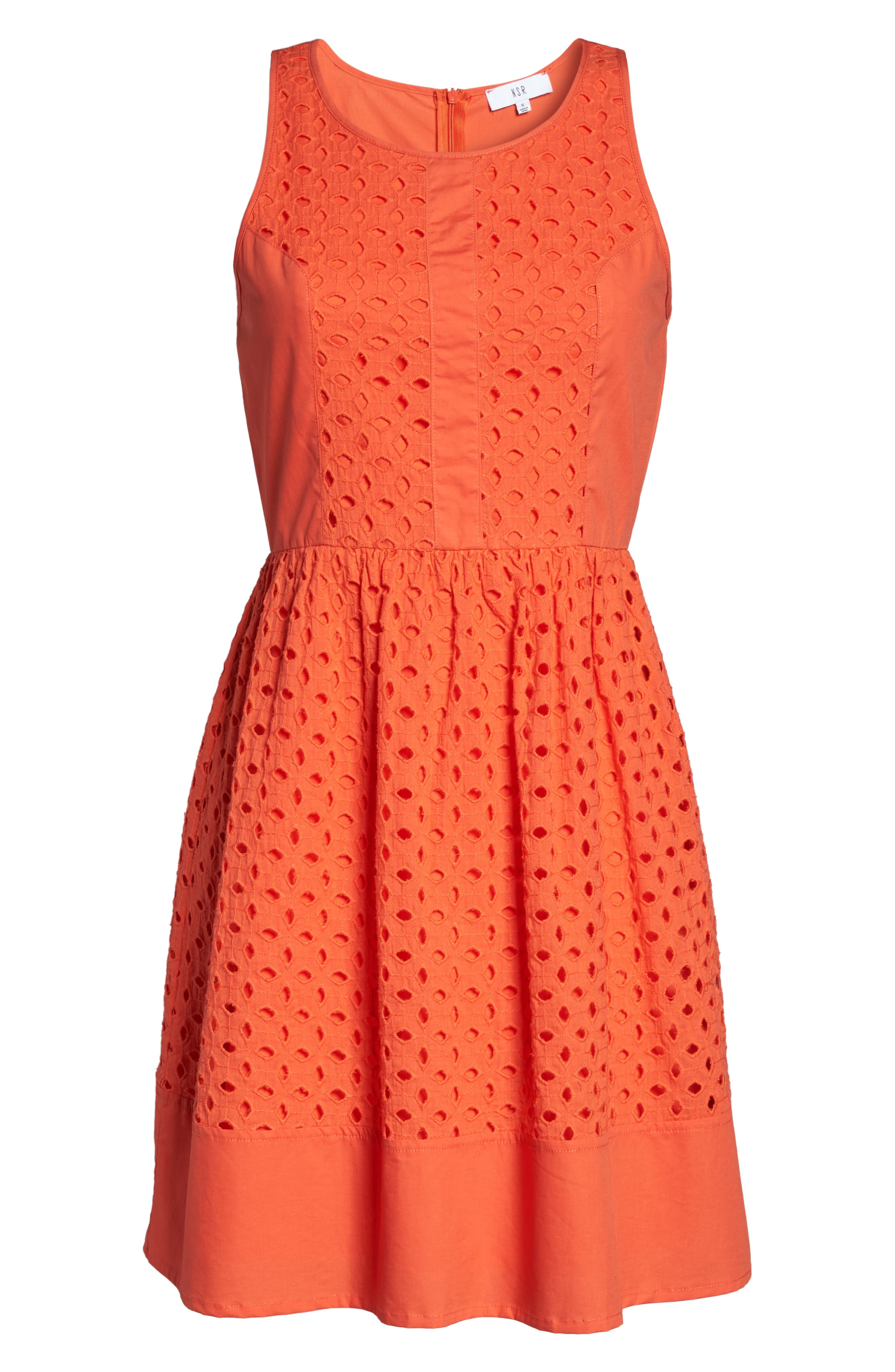 Eyelet Fit & Flare Dress,                             Alternate thumbnail 16, color,