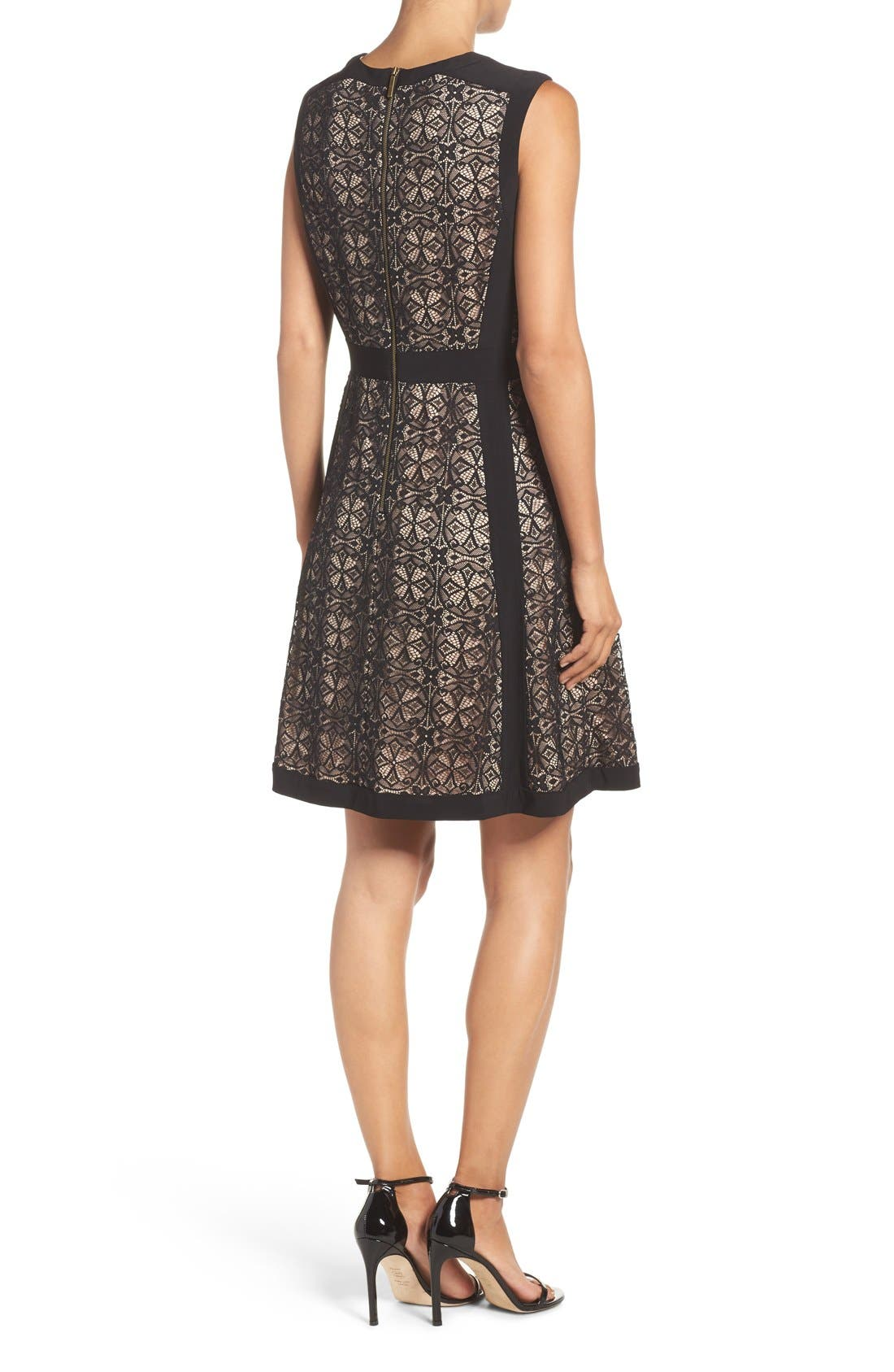 Lace Fit & Flare Dress,                             Alternate thumbnail 2, color,                             002