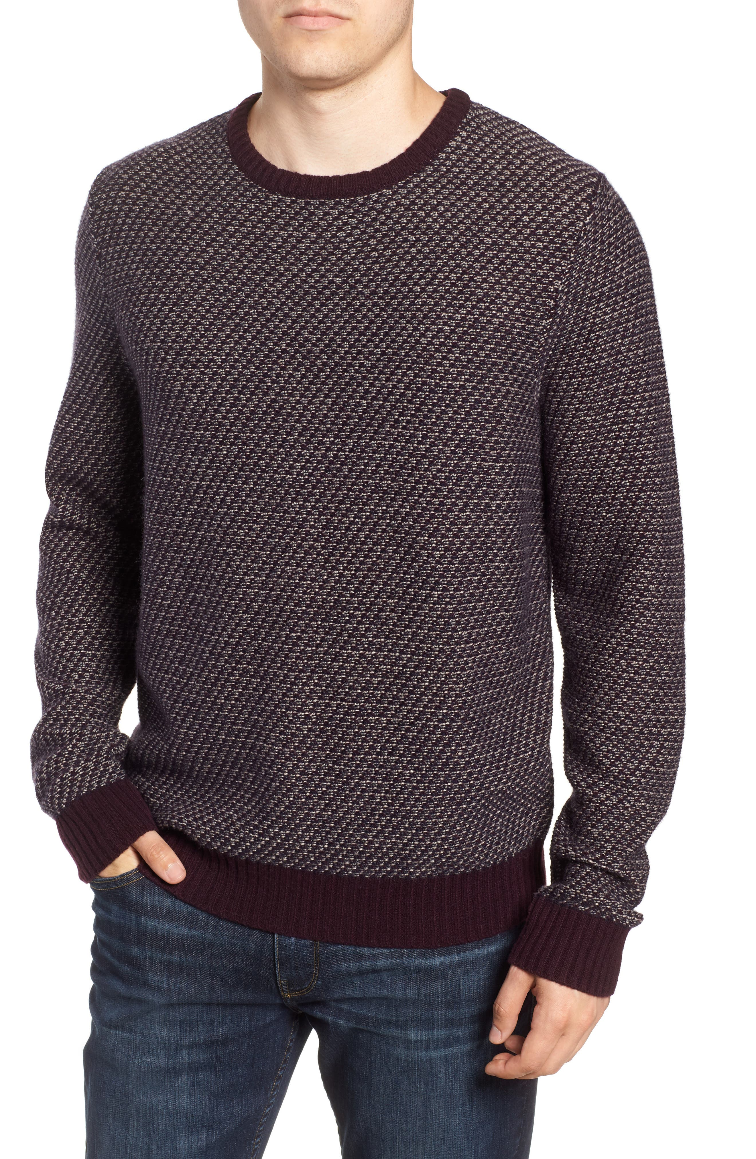 Nordstrom Shop Jacquard Wool & Cashmere Sweater, Burgundy